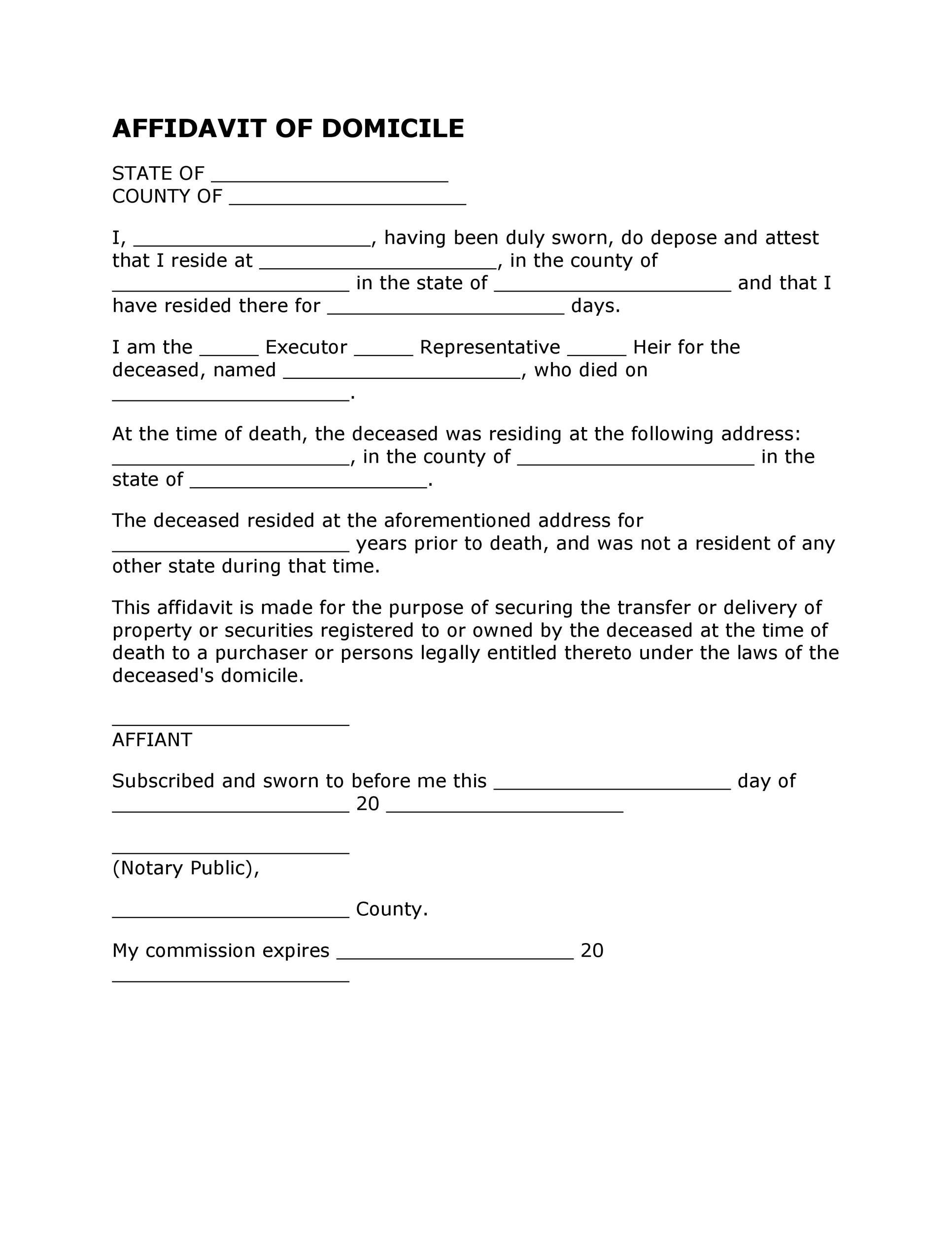 Free affidavit of domicile 47