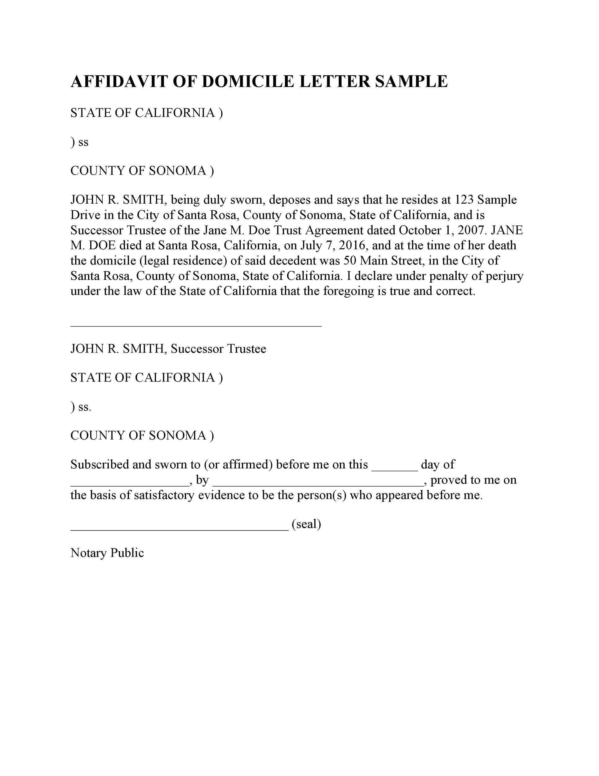 Free affidavit of domicile 48