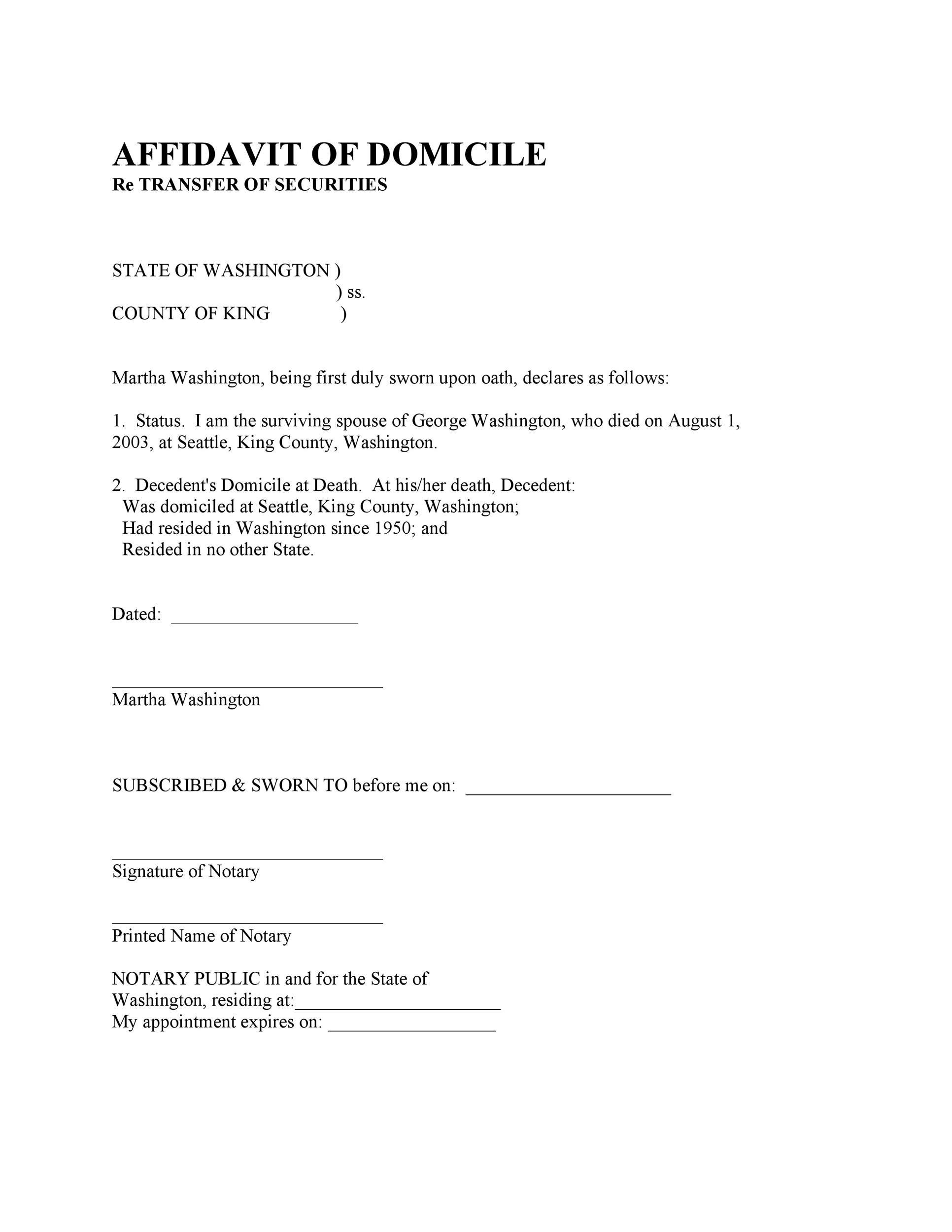 Free affidavit of domicile 50