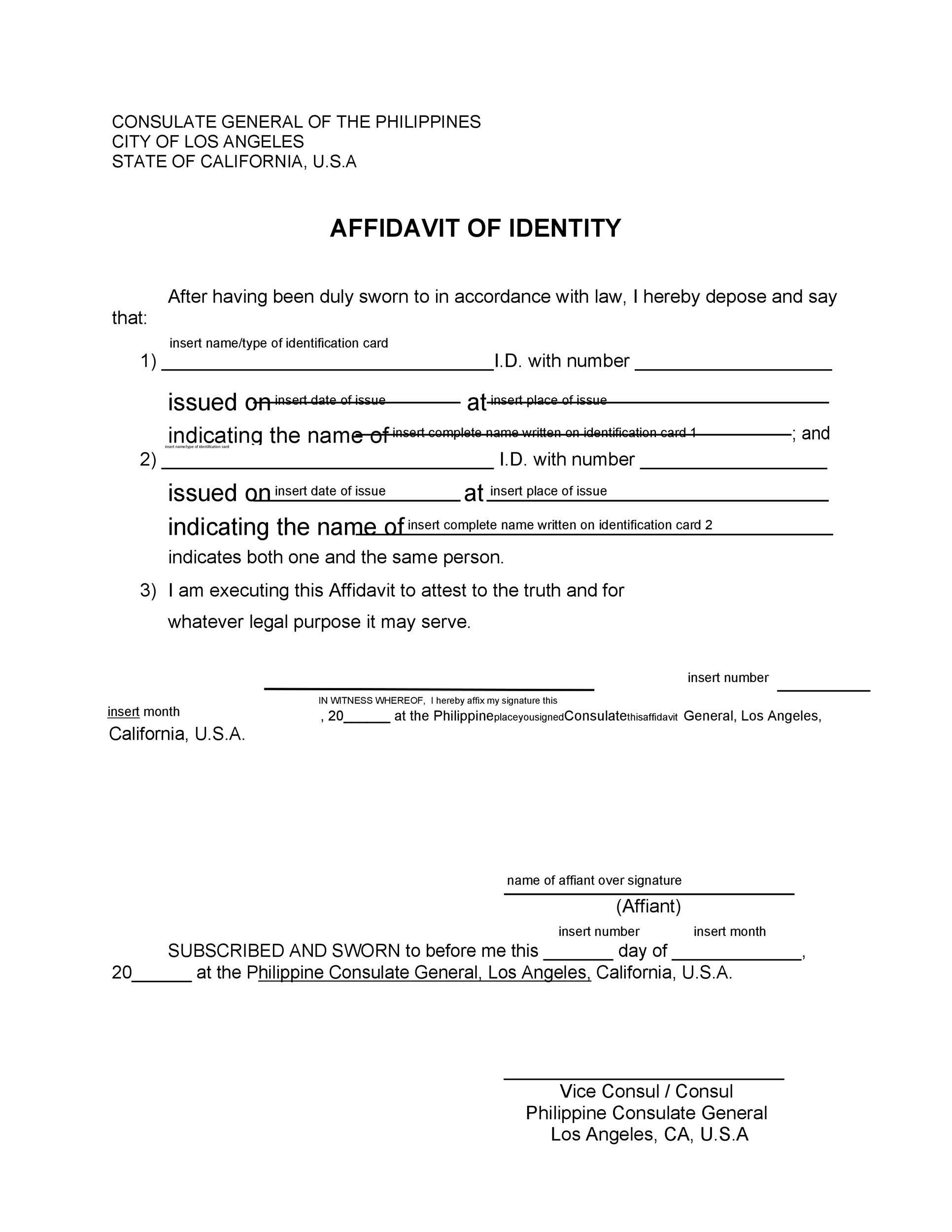 Free affidavit of identity 01