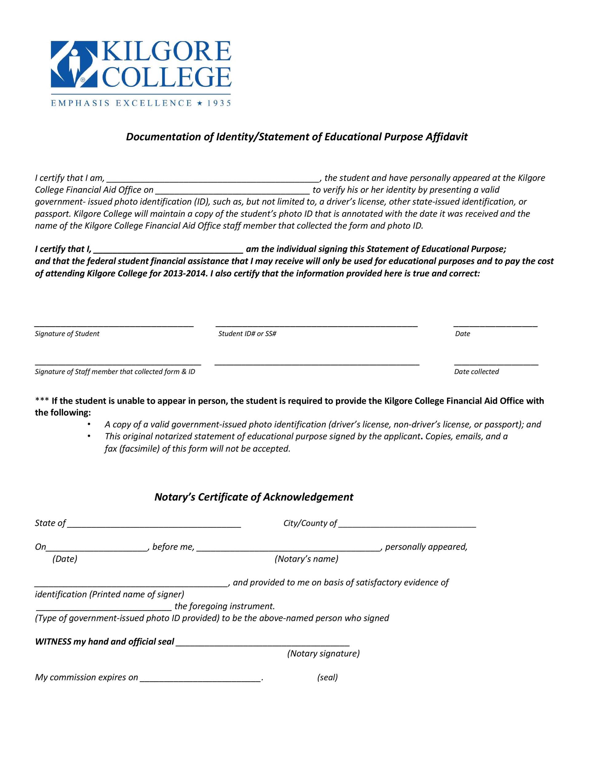 Free affidavit of identity 04