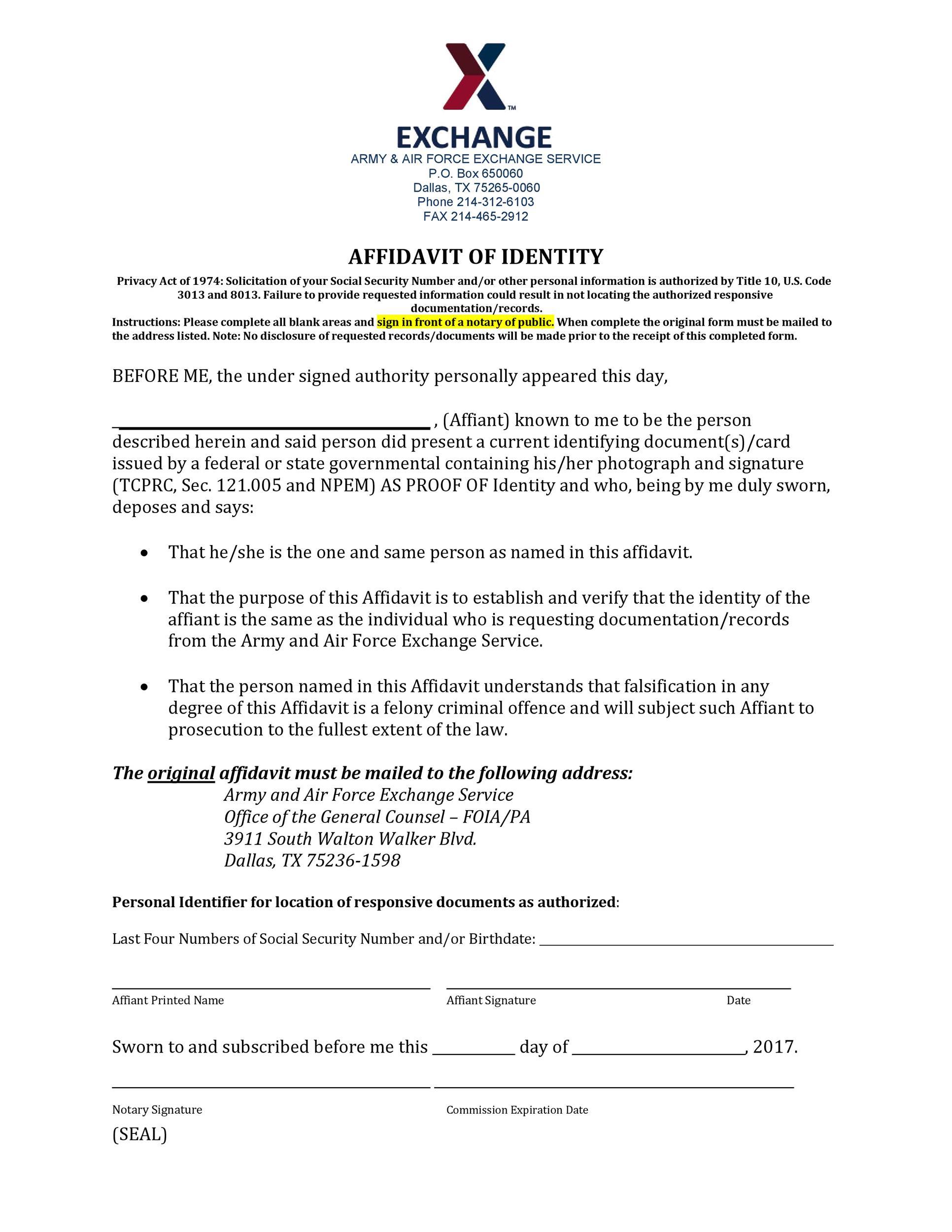 Free affidavit of identity 10