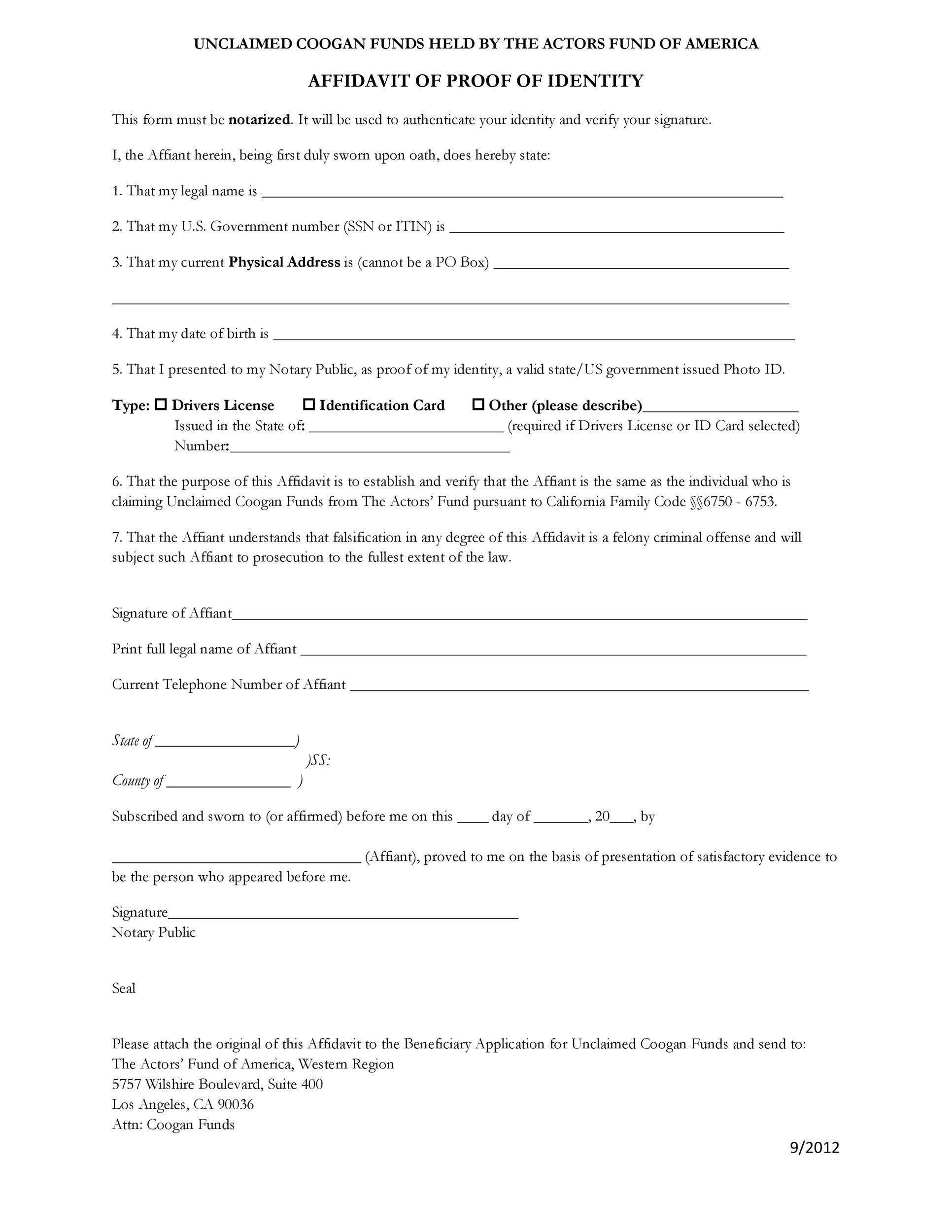 Free affidavit of identity 14