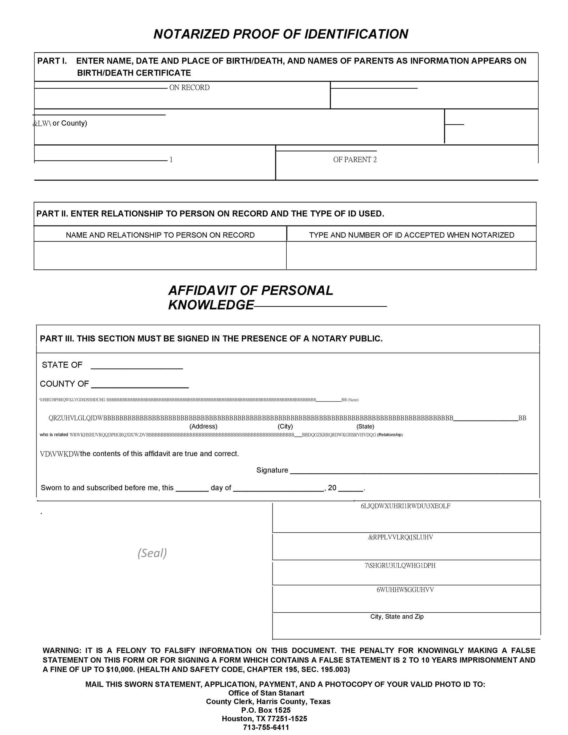Free affidavit of identity 15