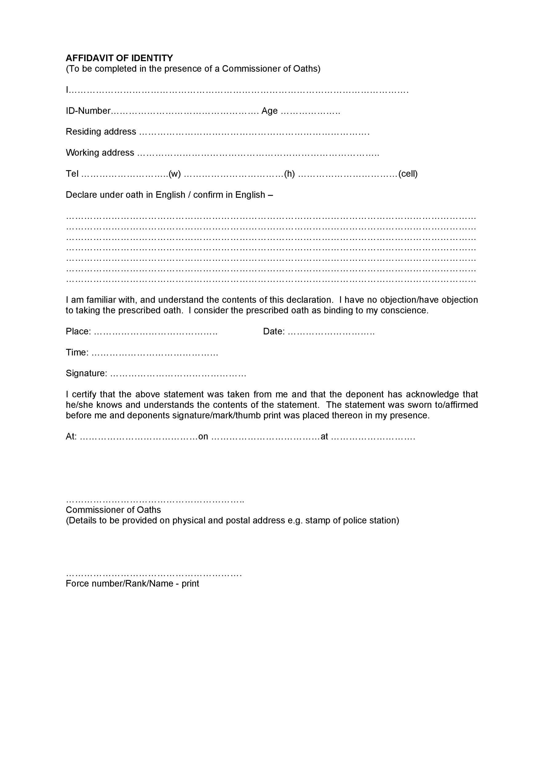 Free affidavit of identity 18