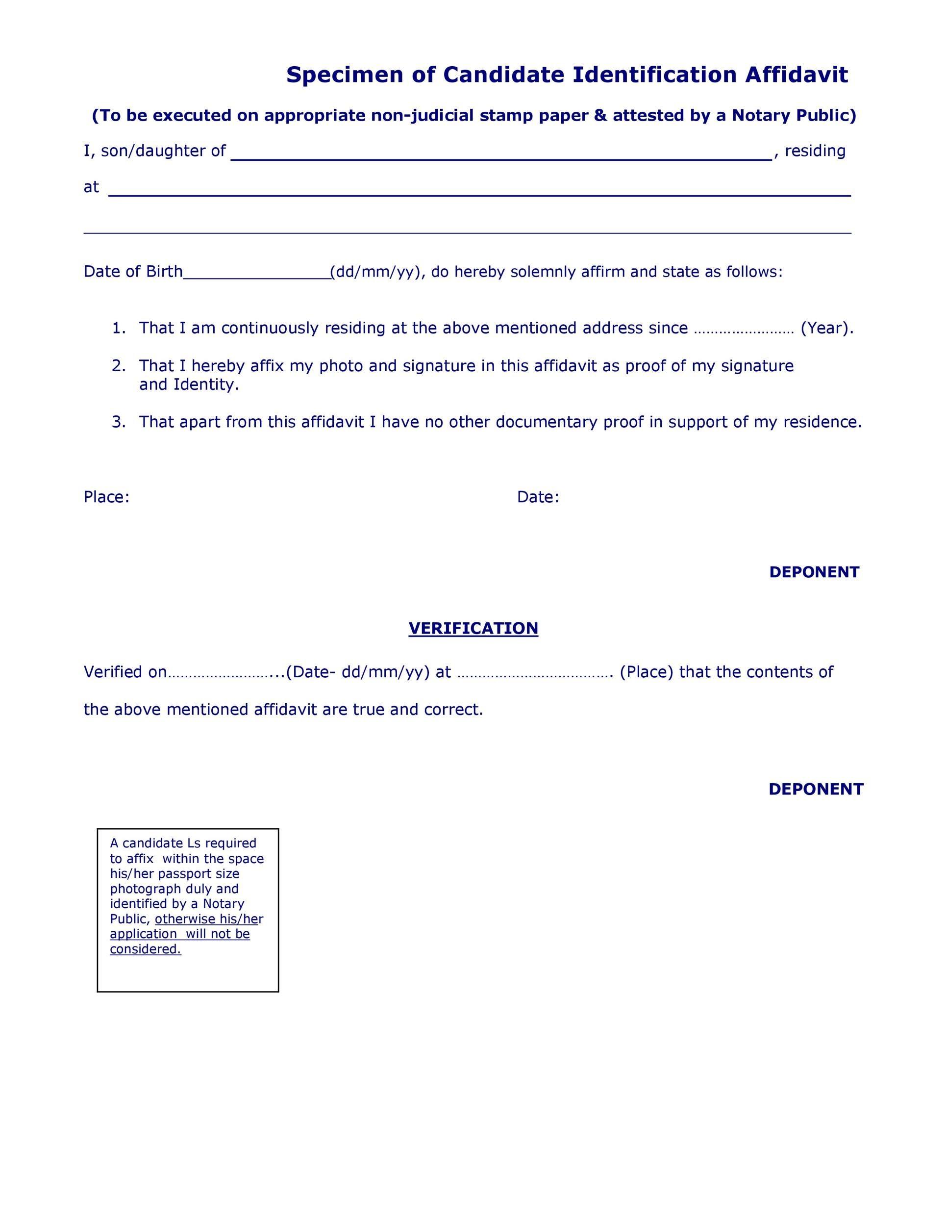 Free affidavit of identity 20