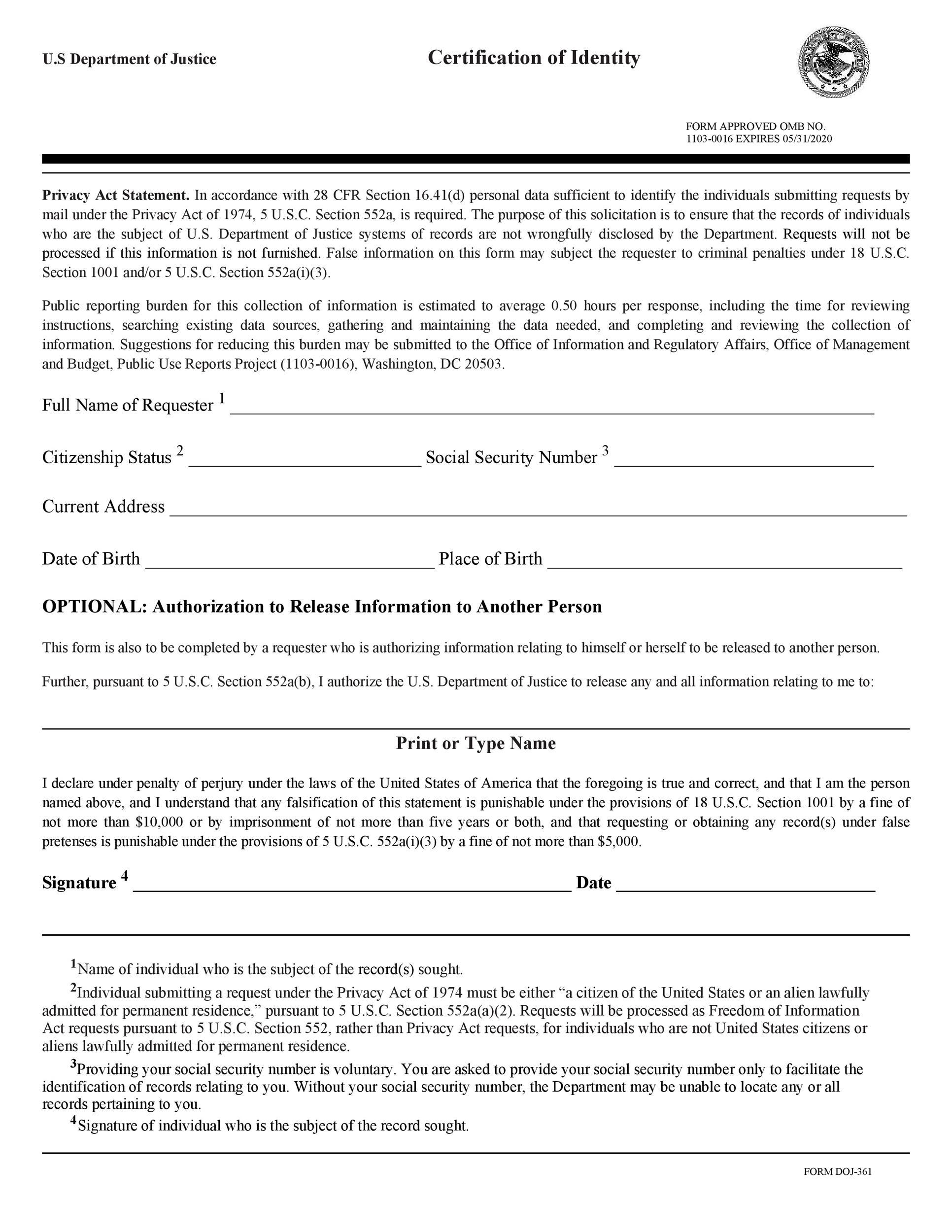 Free affidavit of identity 24