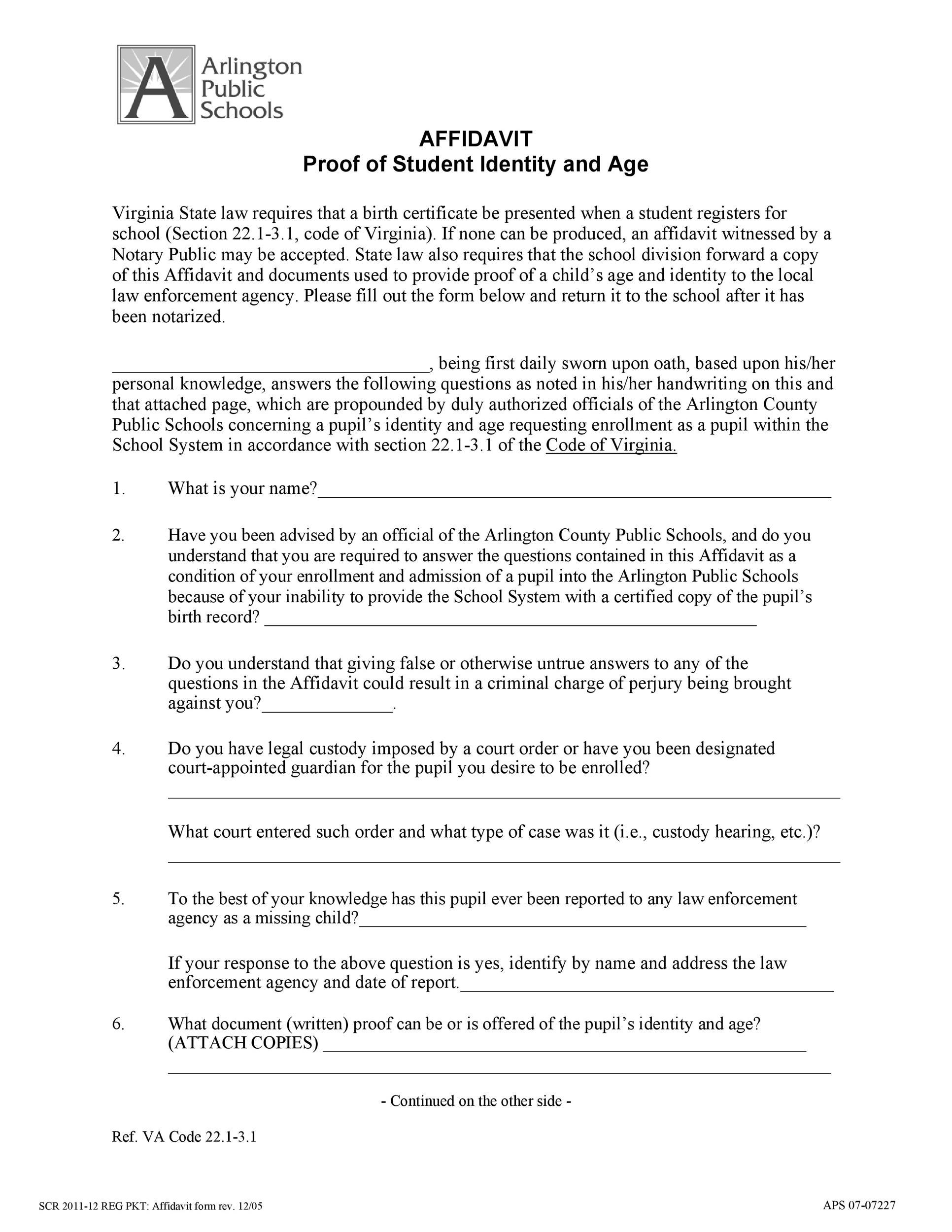 Free affidavit of identity 27