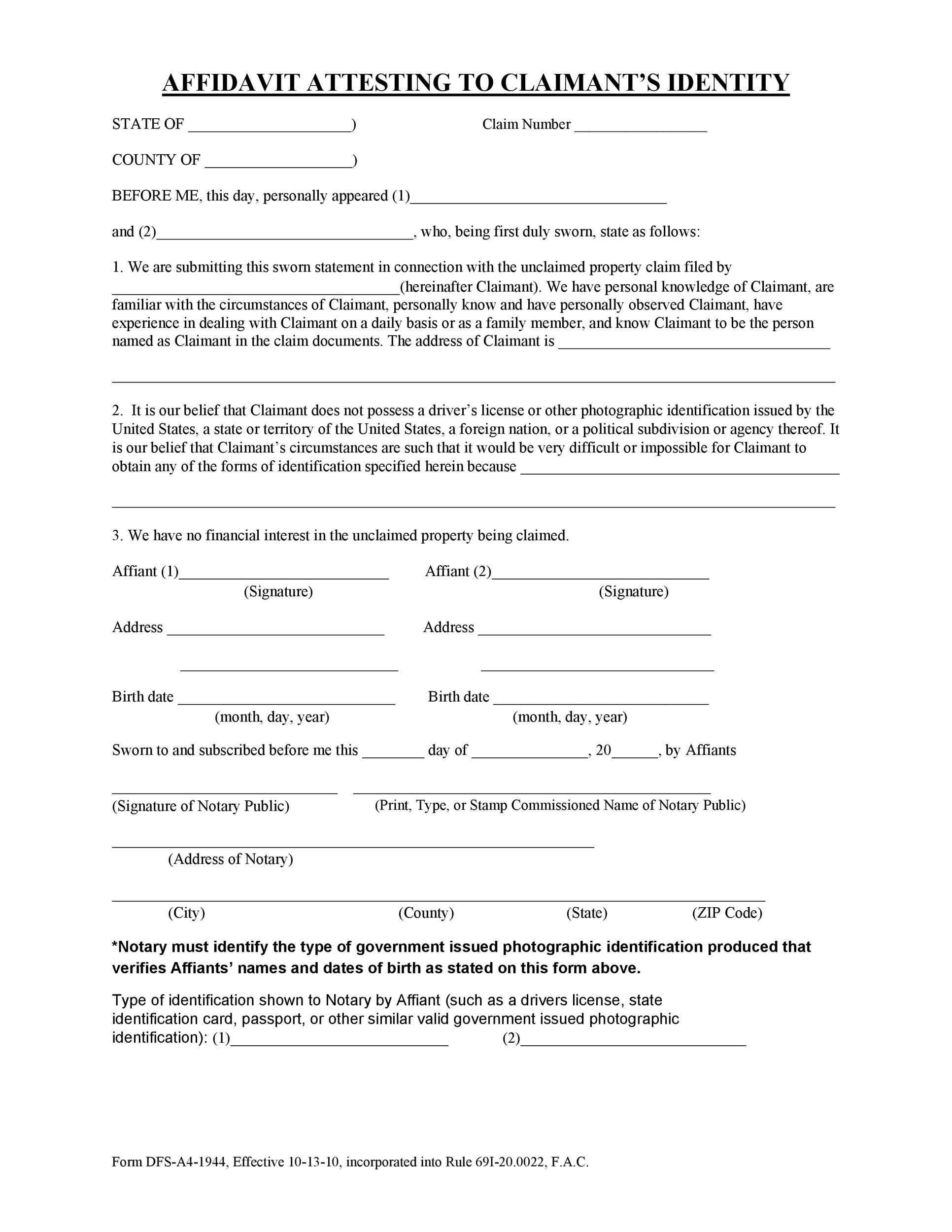 Free affidavit of identity 30