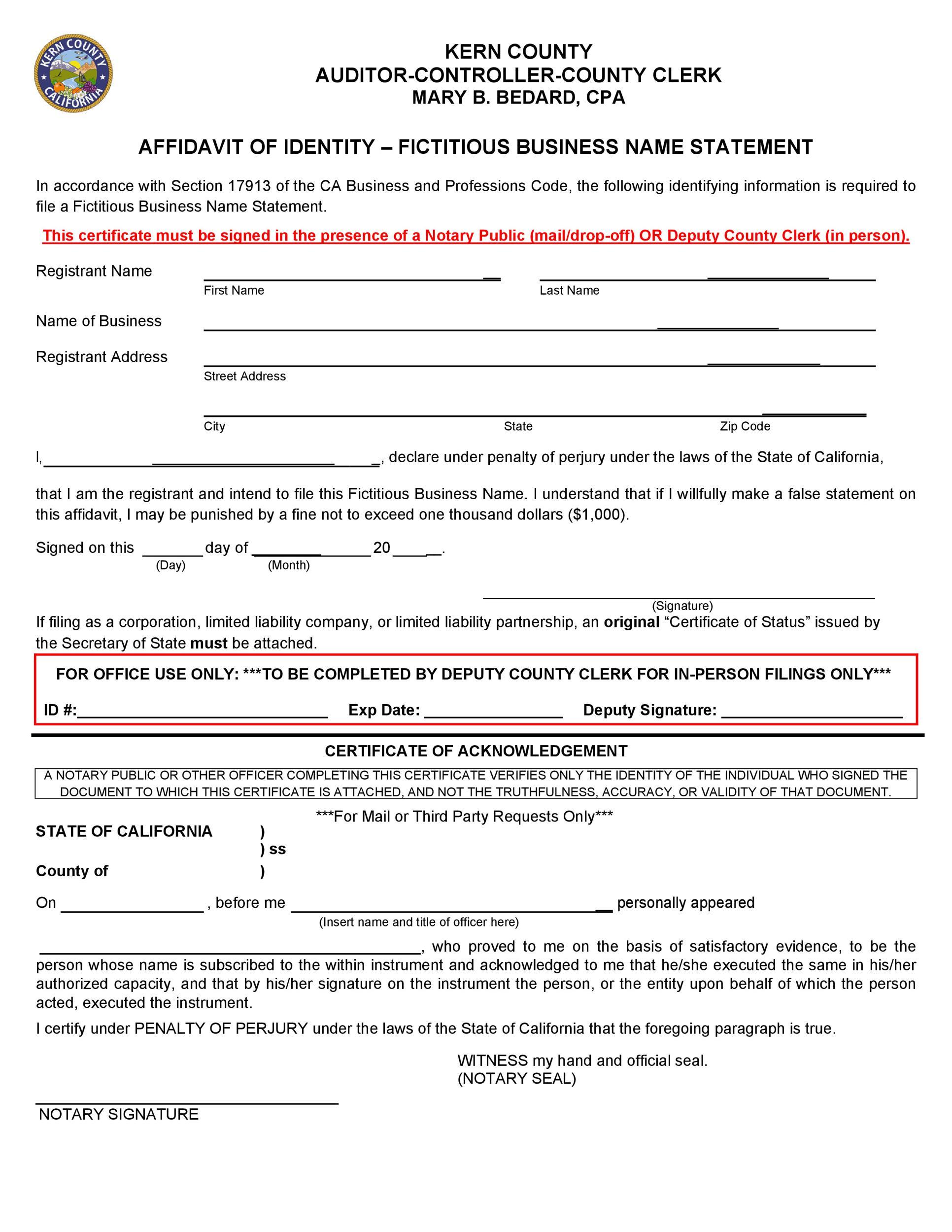 Free affidavit of identity 35
