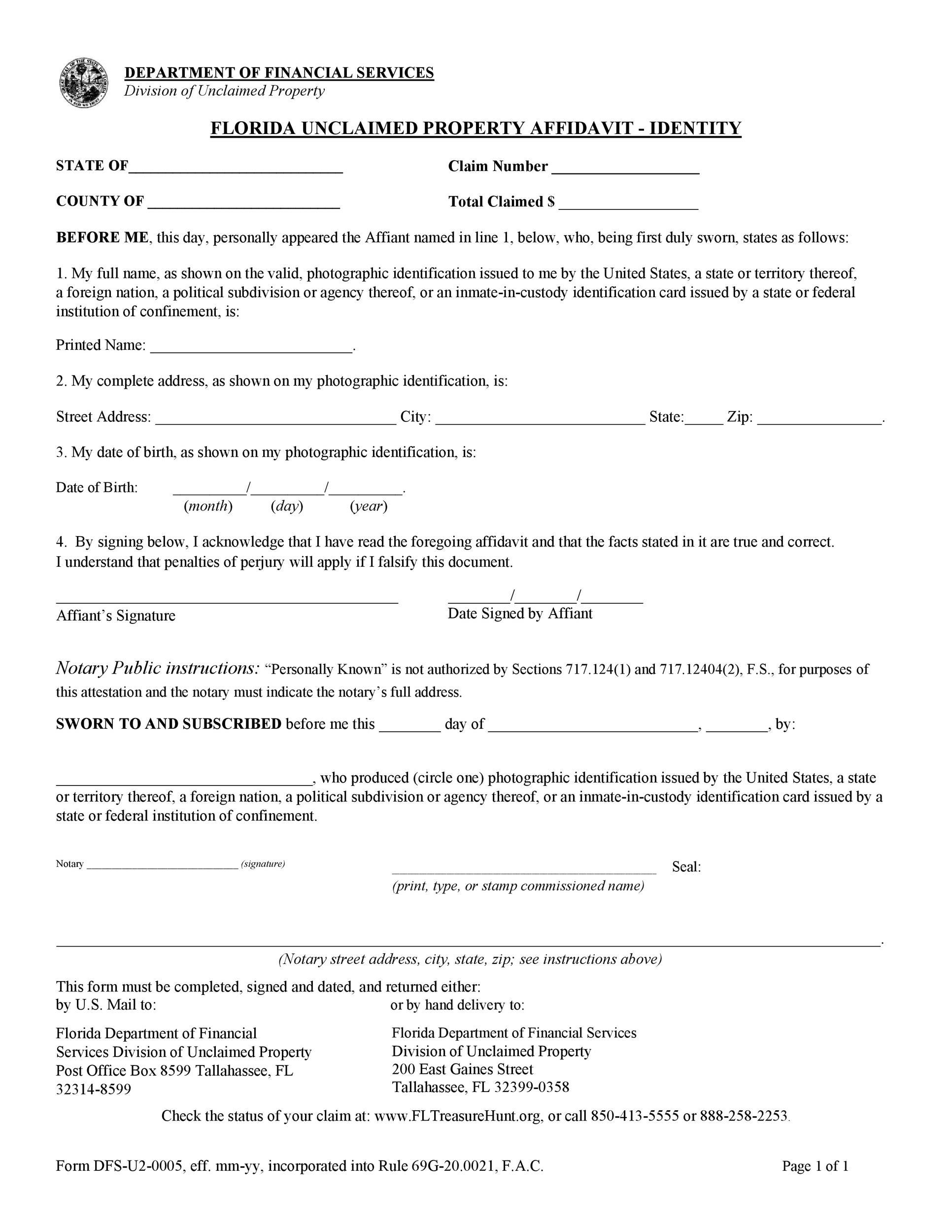 Free affidavit of identity 39