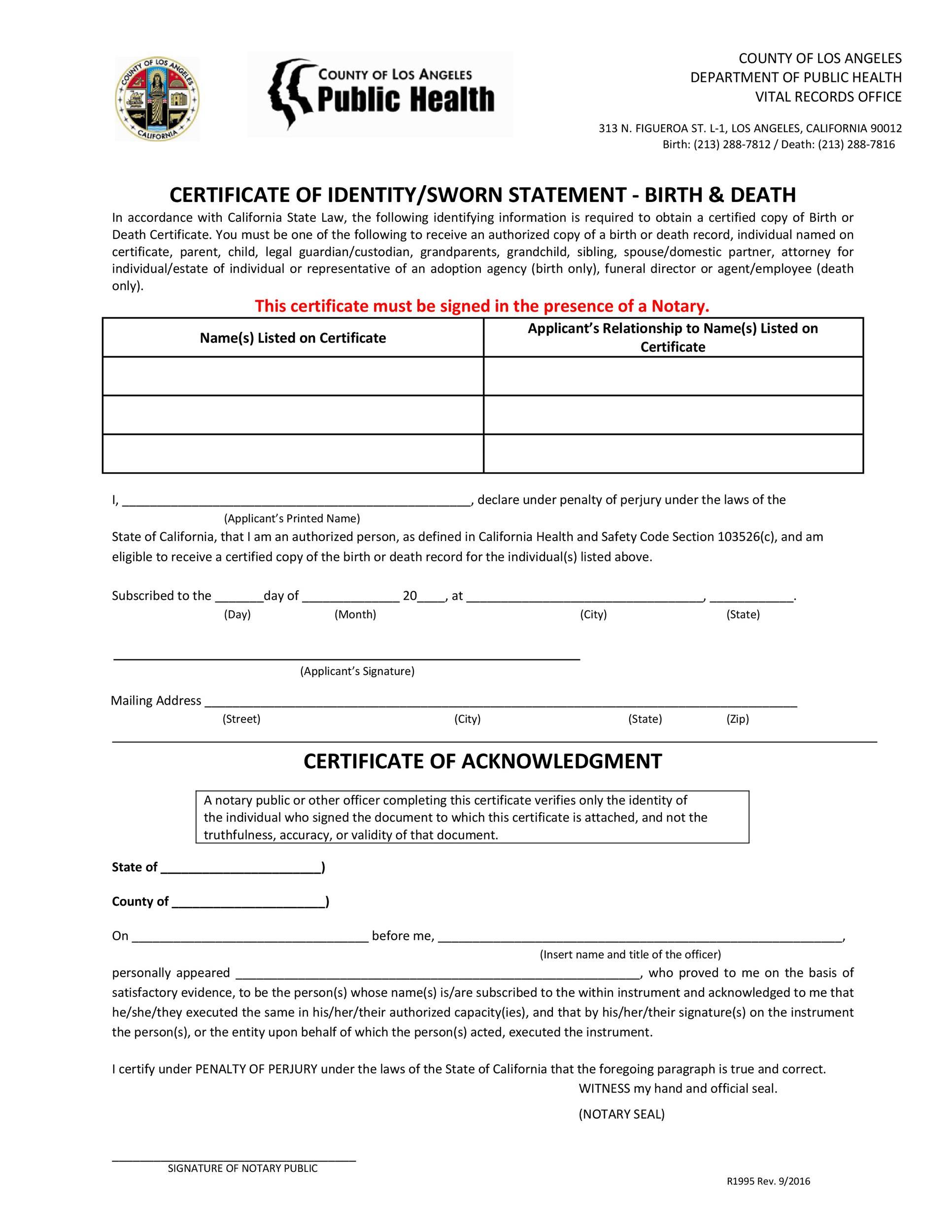 Free affidavit of identity 45