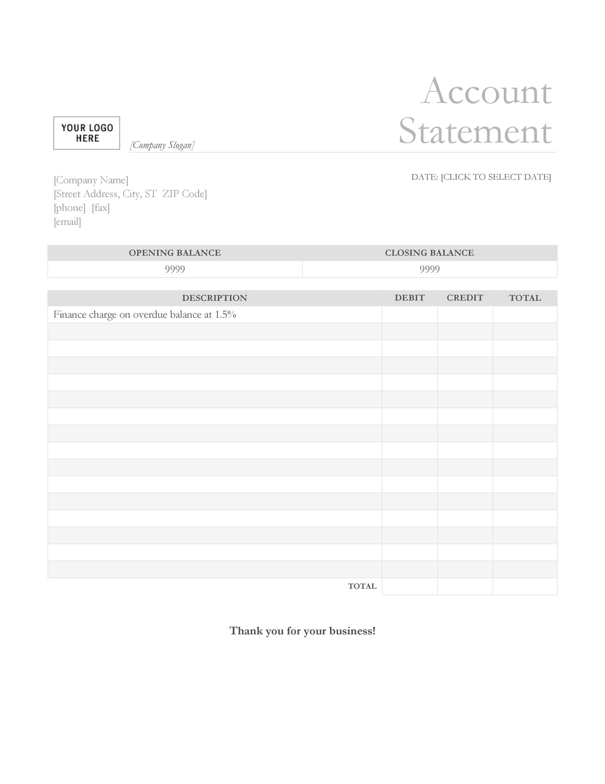 Free bank statement template 01