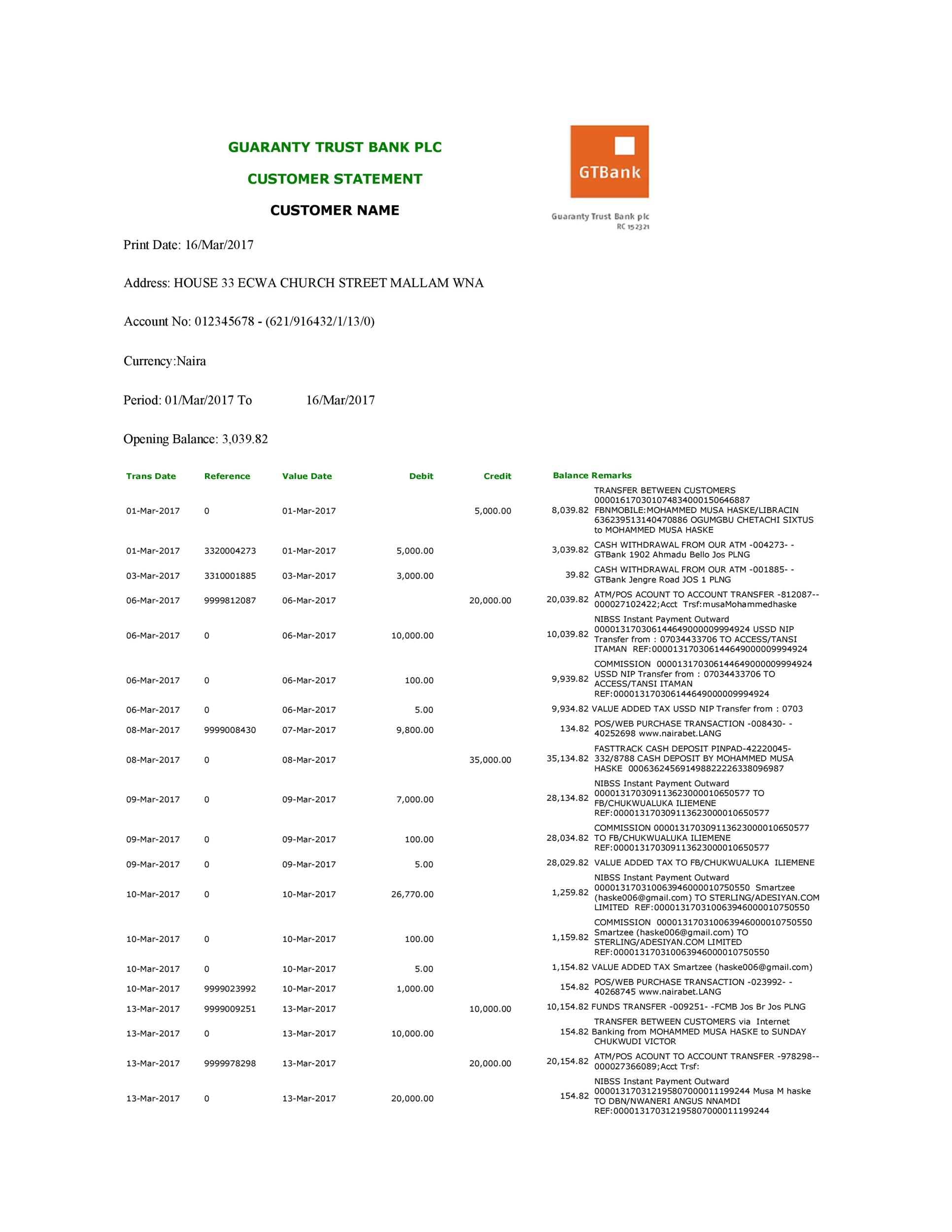 Free bank statement template 07