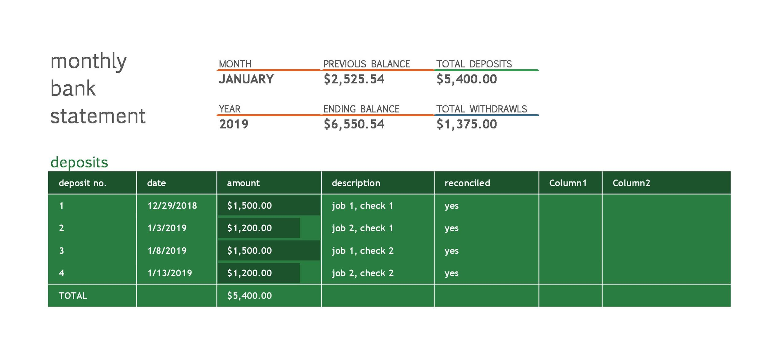 Free bank statement template 13