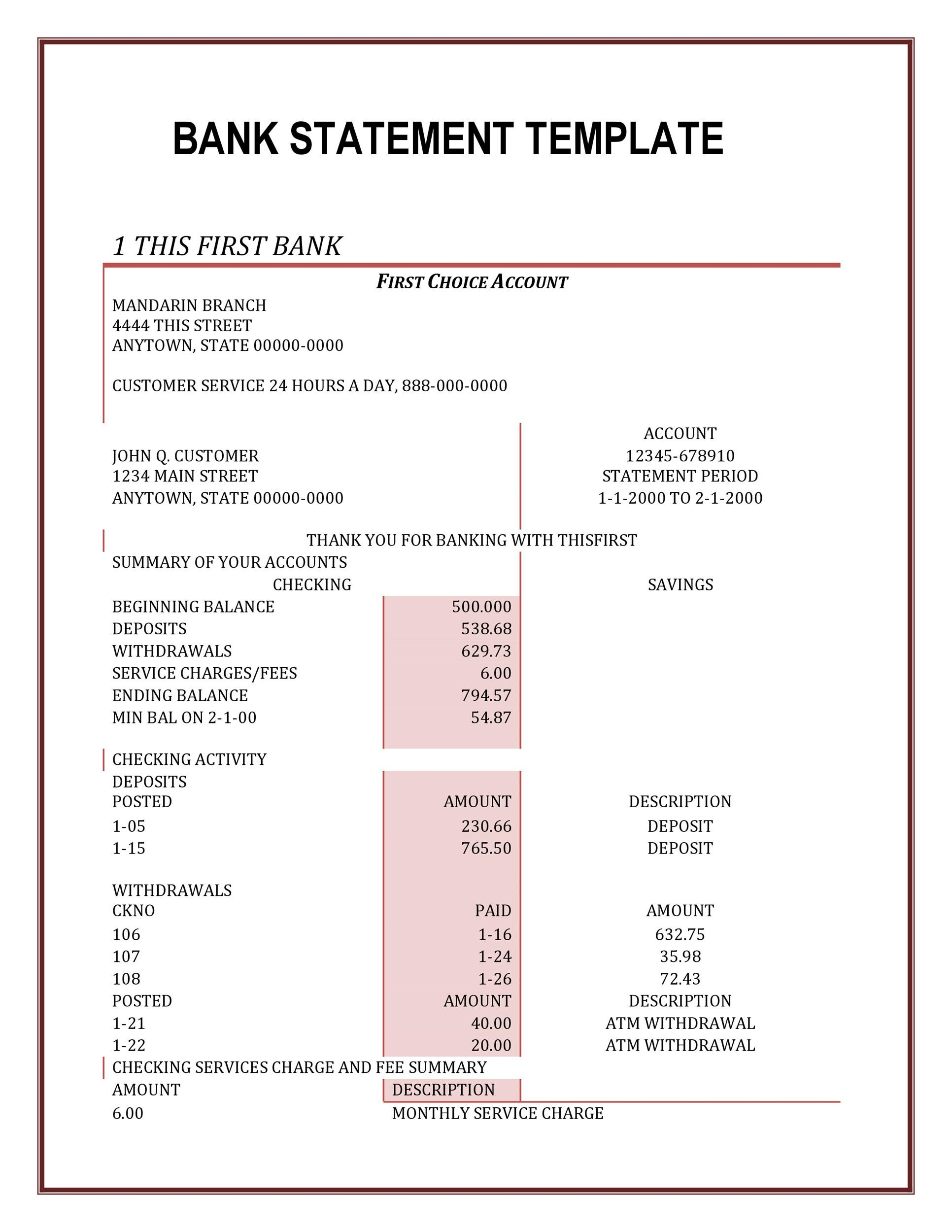 Free bank statement template 16