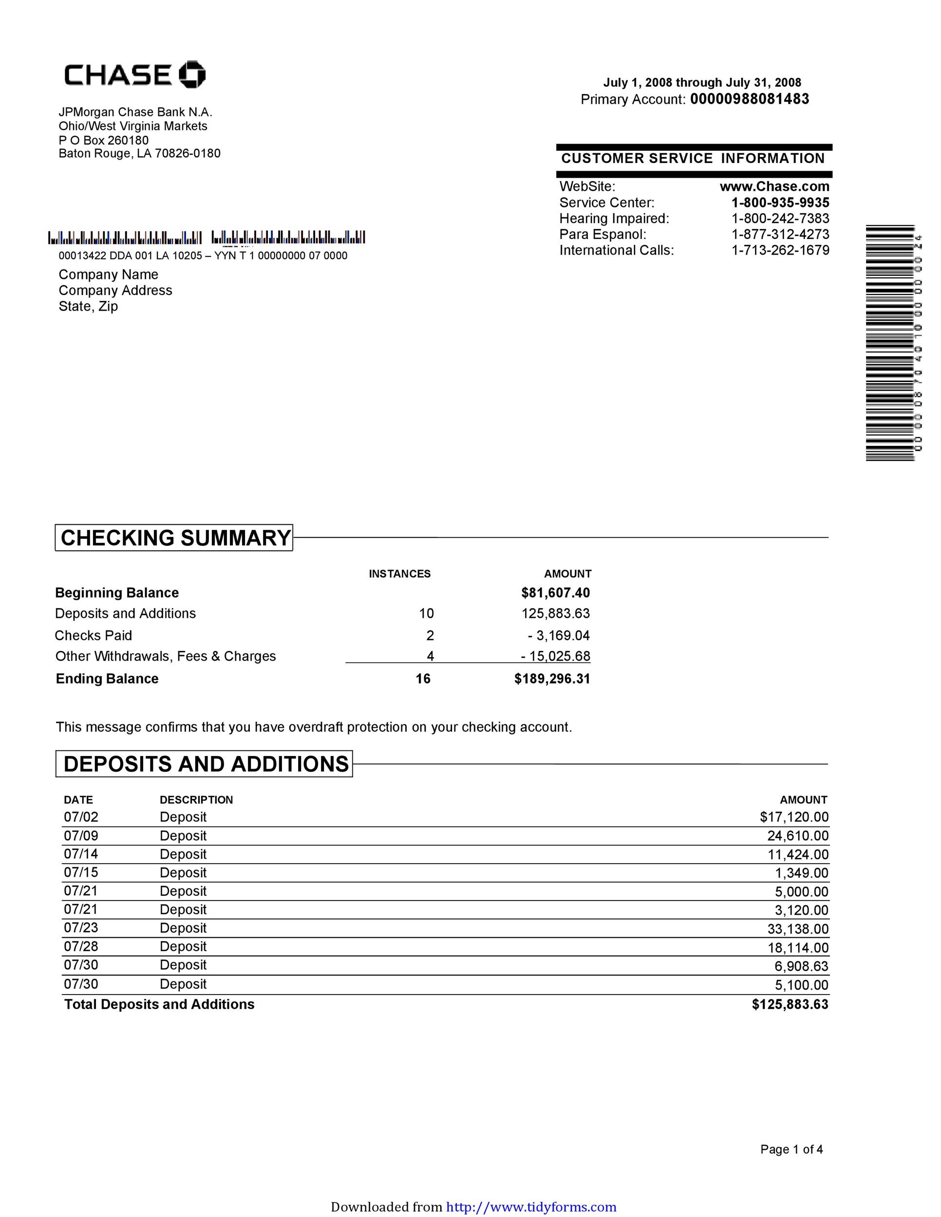 Free bank statement template 20