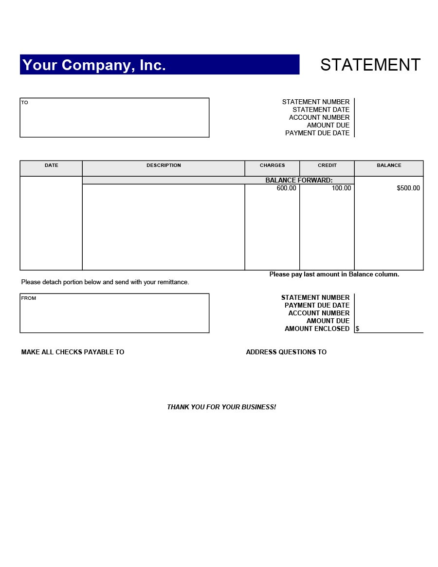 Free bank statement template 21