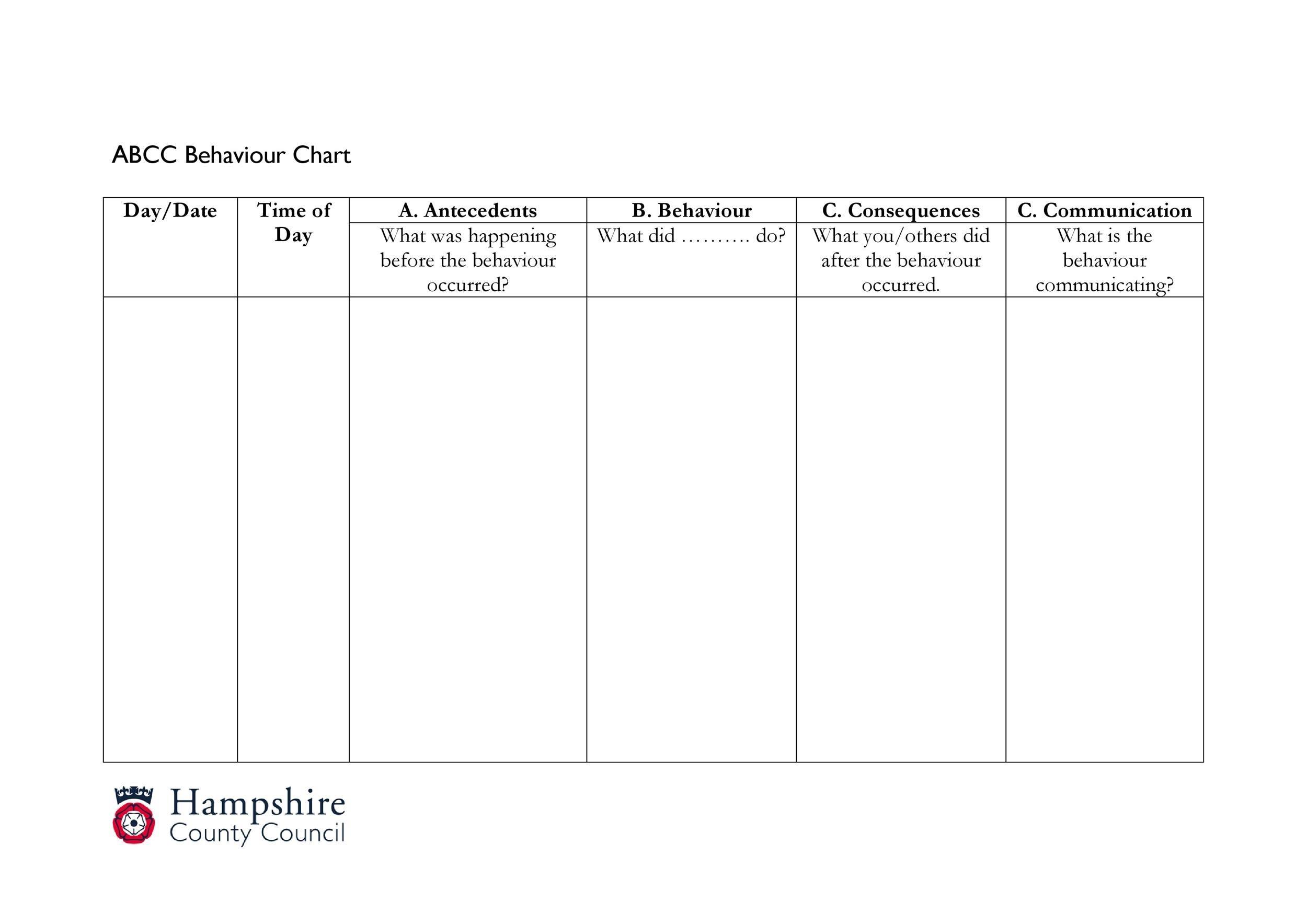 Free behavior chart 14