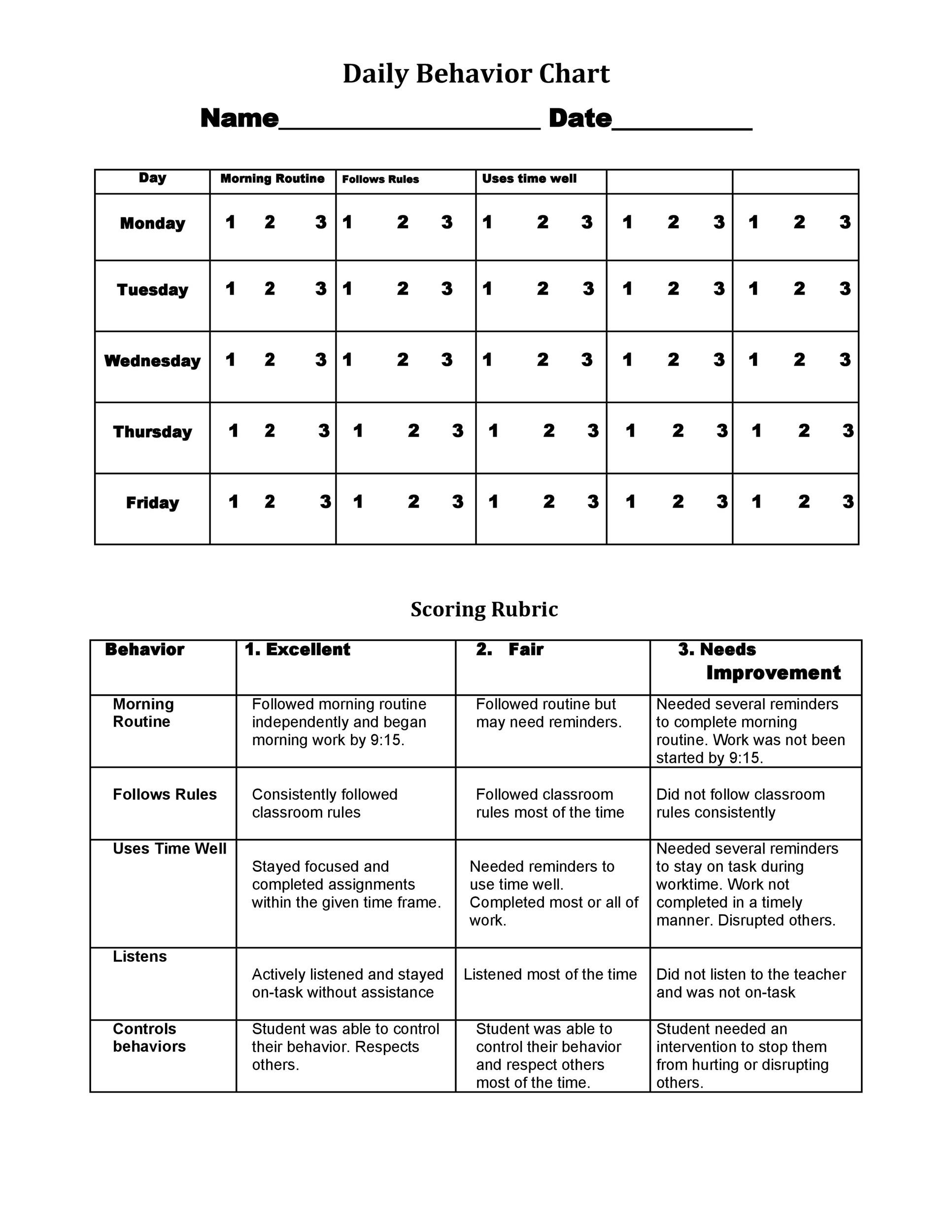 Free behavior chart 37