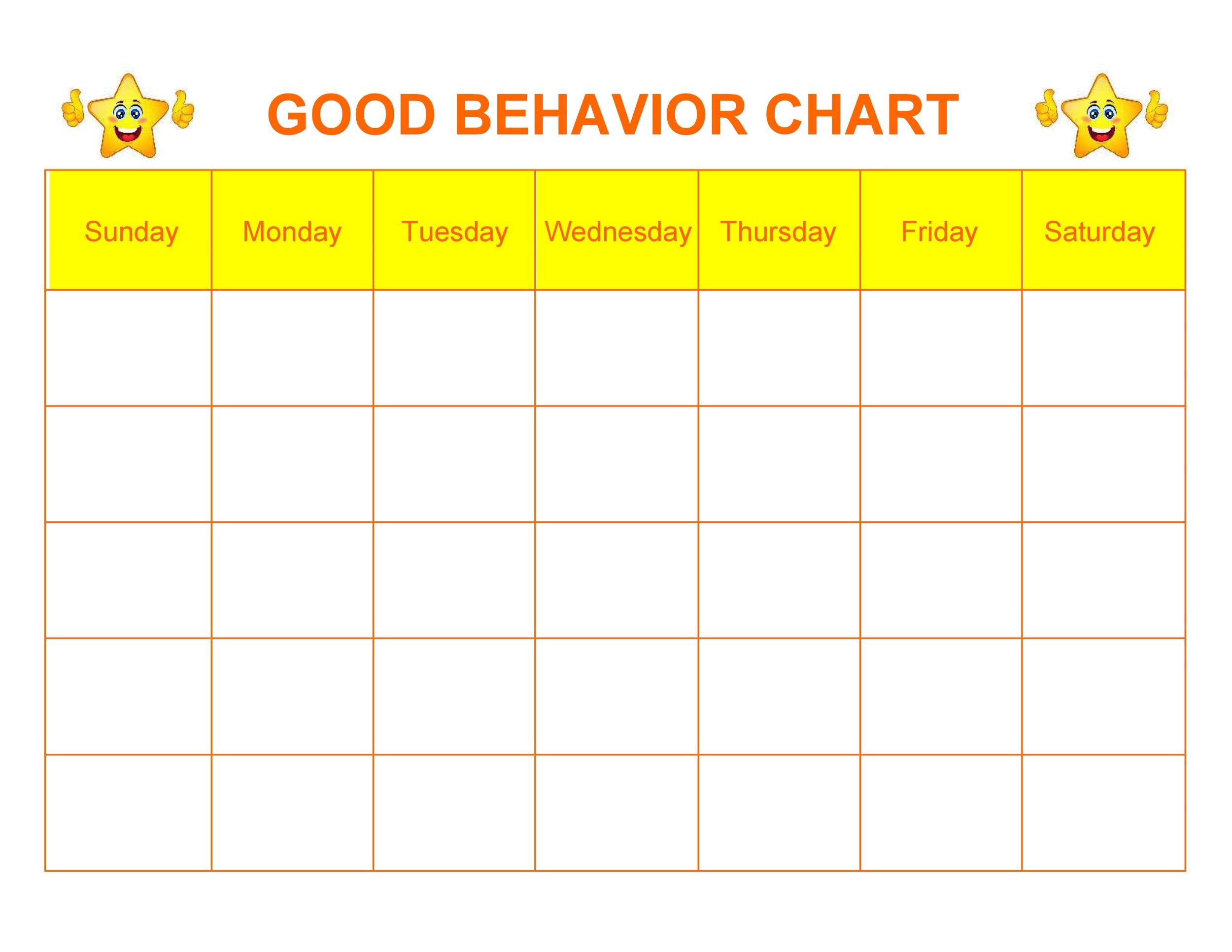picture relating to Free Printable Behavior Charts titled 42 Printable Habits Chart Templates [for Youngsters] ᐅ Template Lab