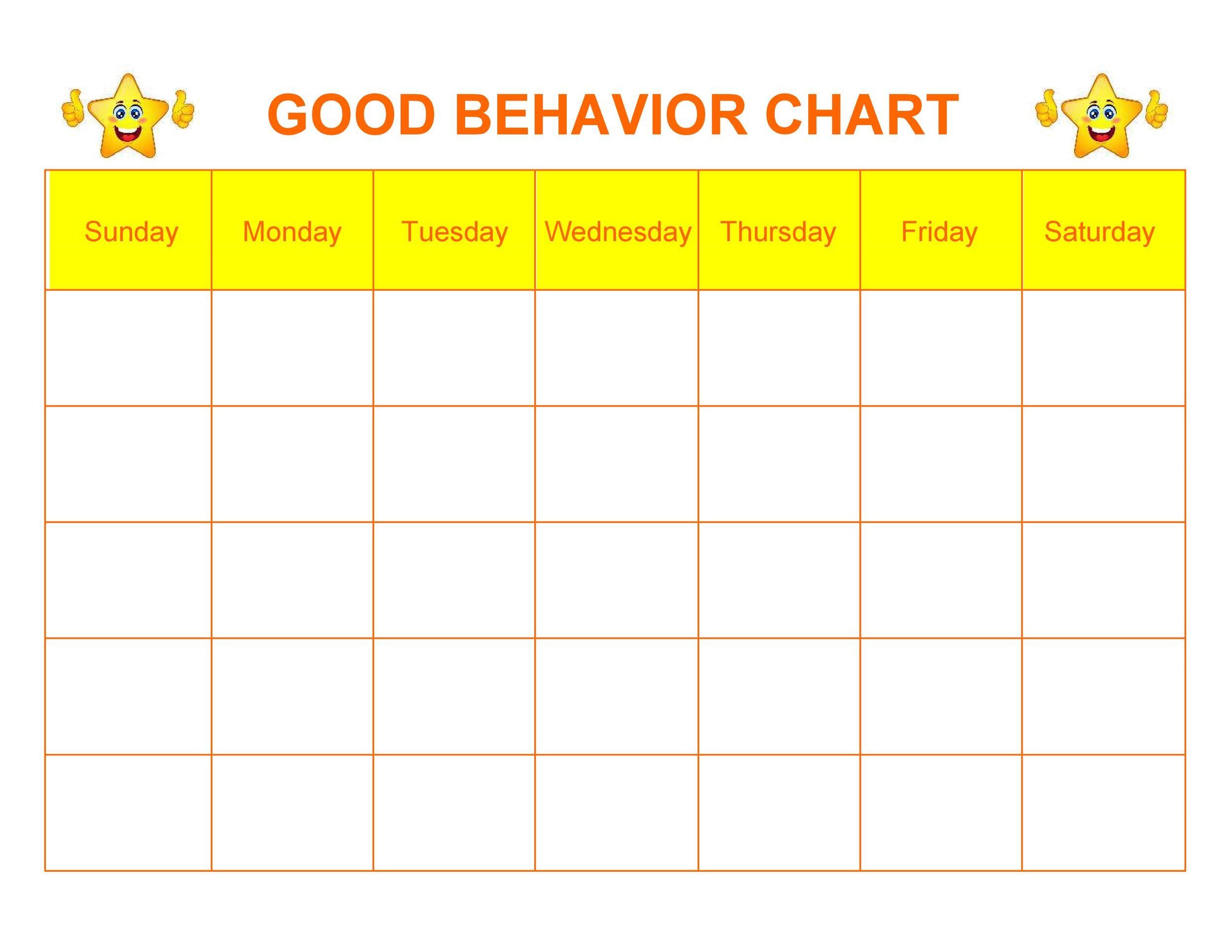 Free Printable Good Behavior Sticker Chart