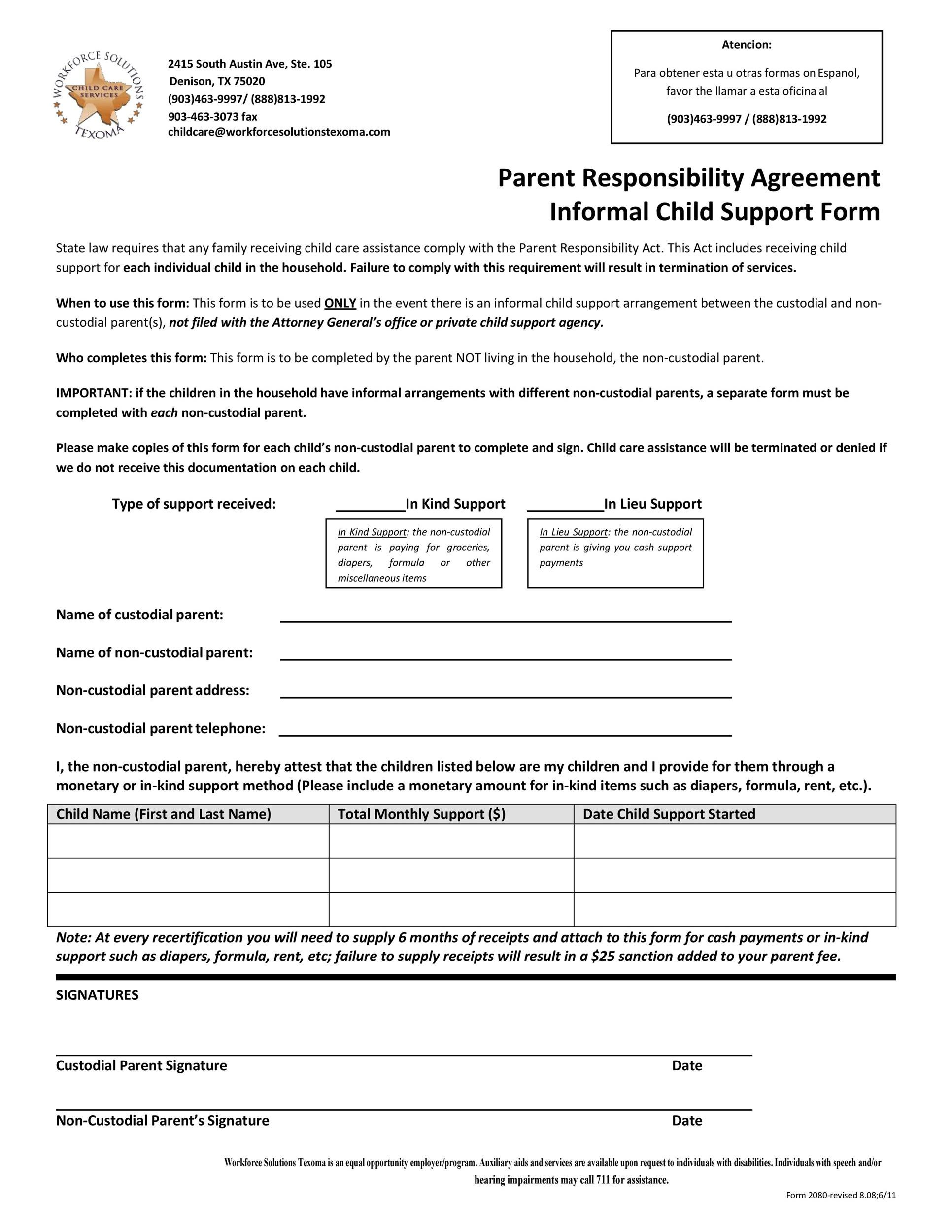 Free child support agreement 06