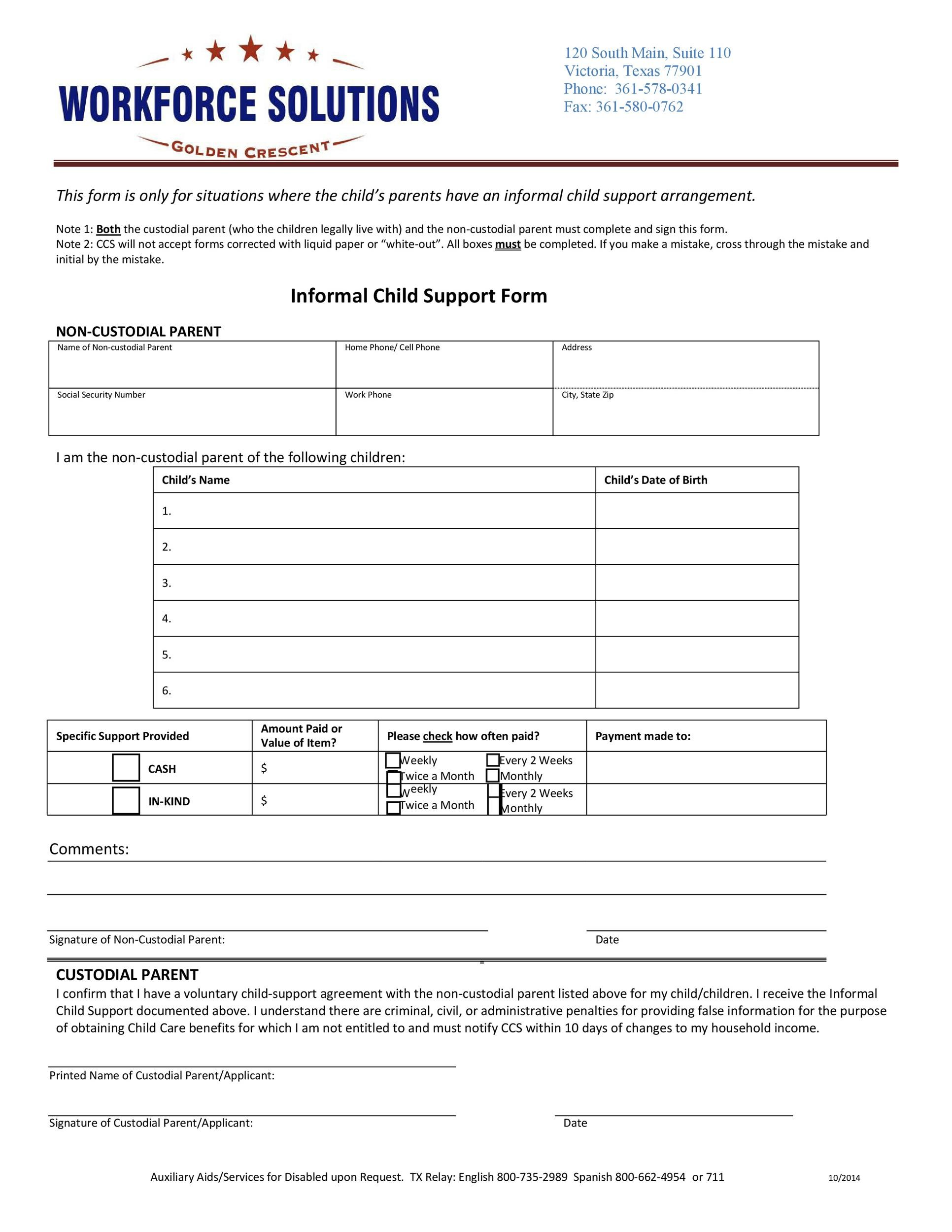 Free child support agreement 07
