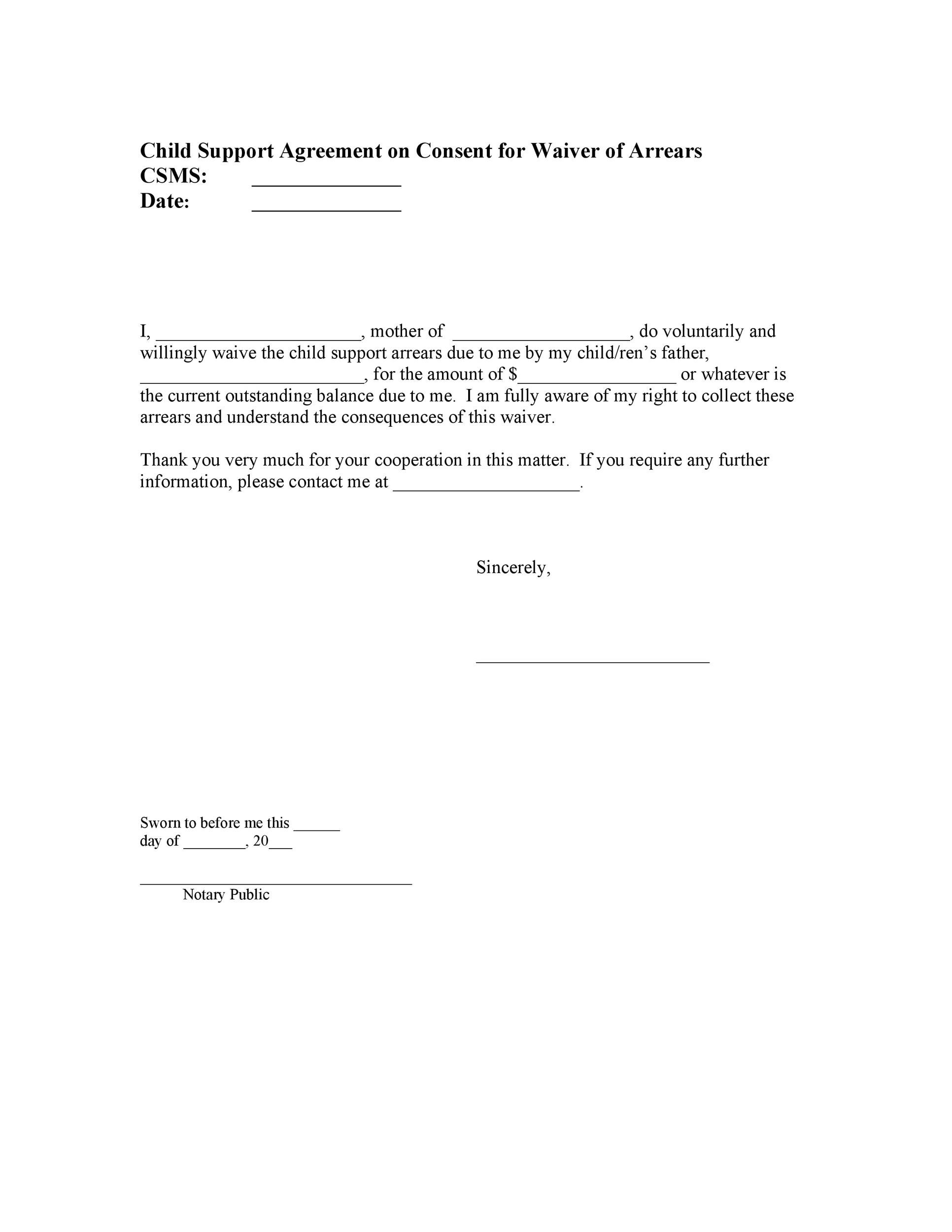 Child Support Agreement Letter Templates Hoyuk