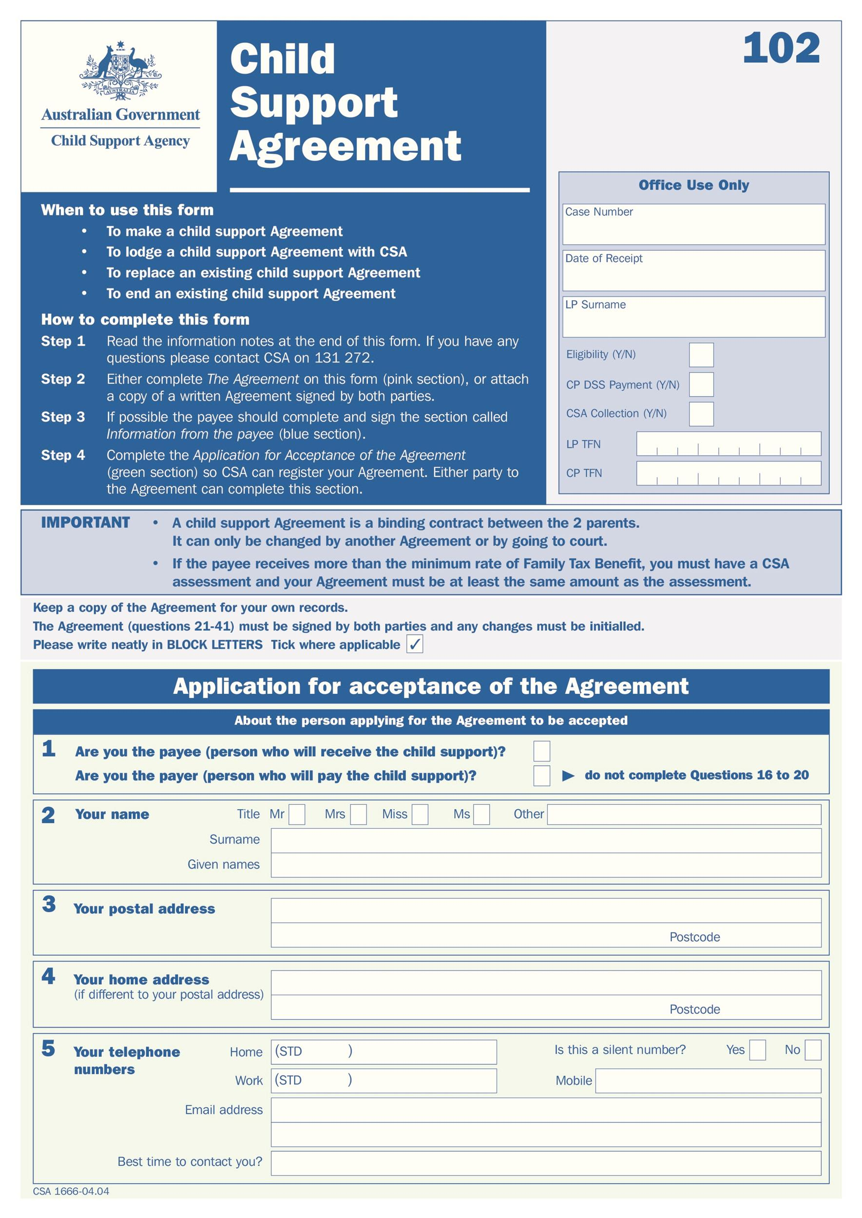 Free child support agreement 24