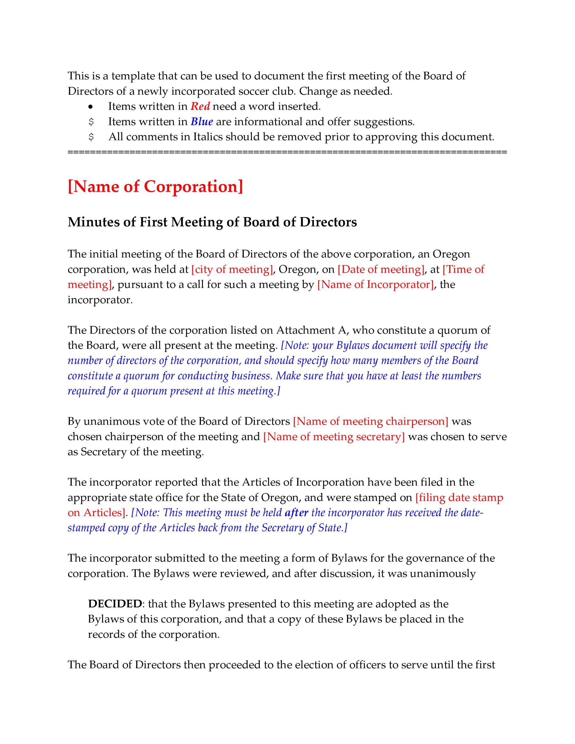 Free corporate minutes 04