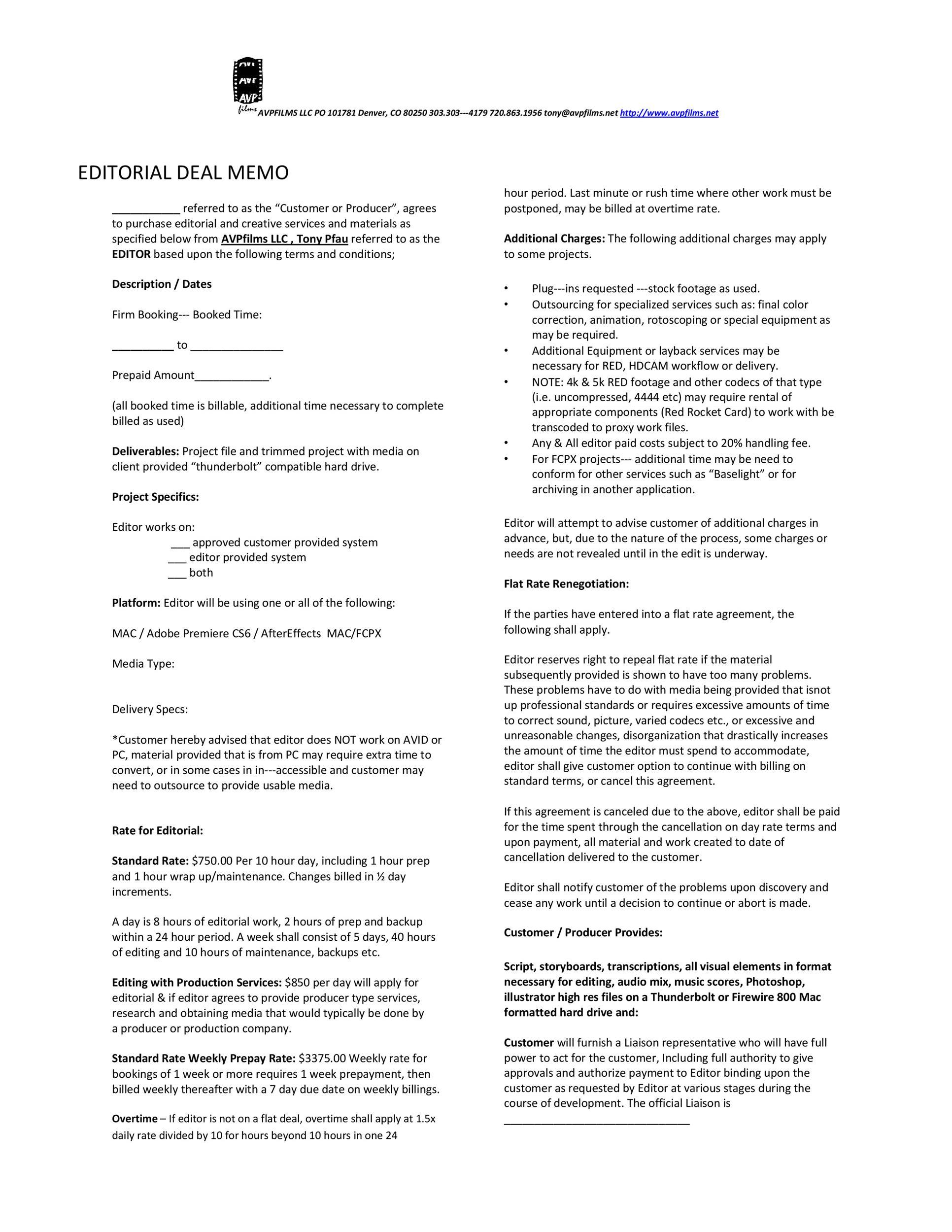 Free deal memo template 03