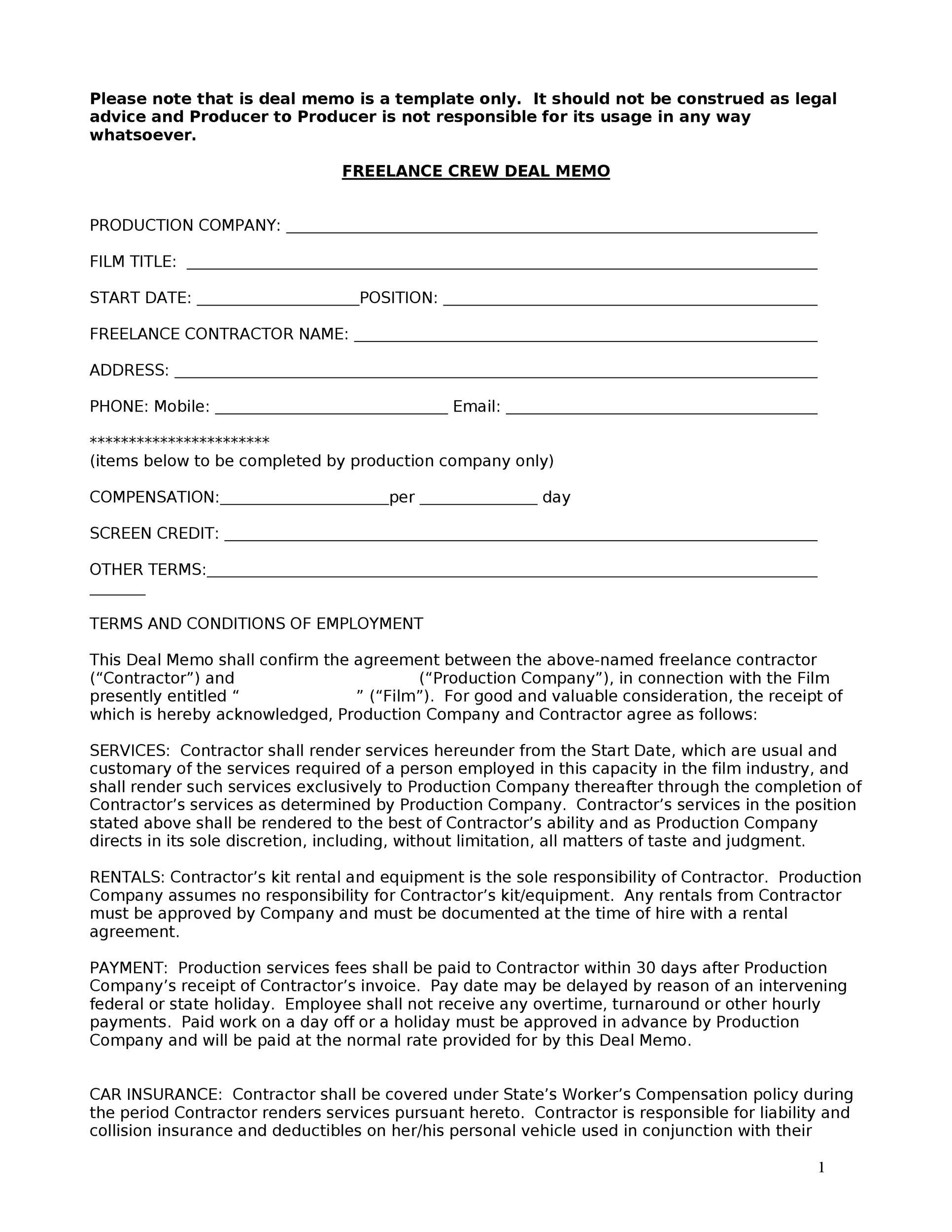 Free deal memo template 10