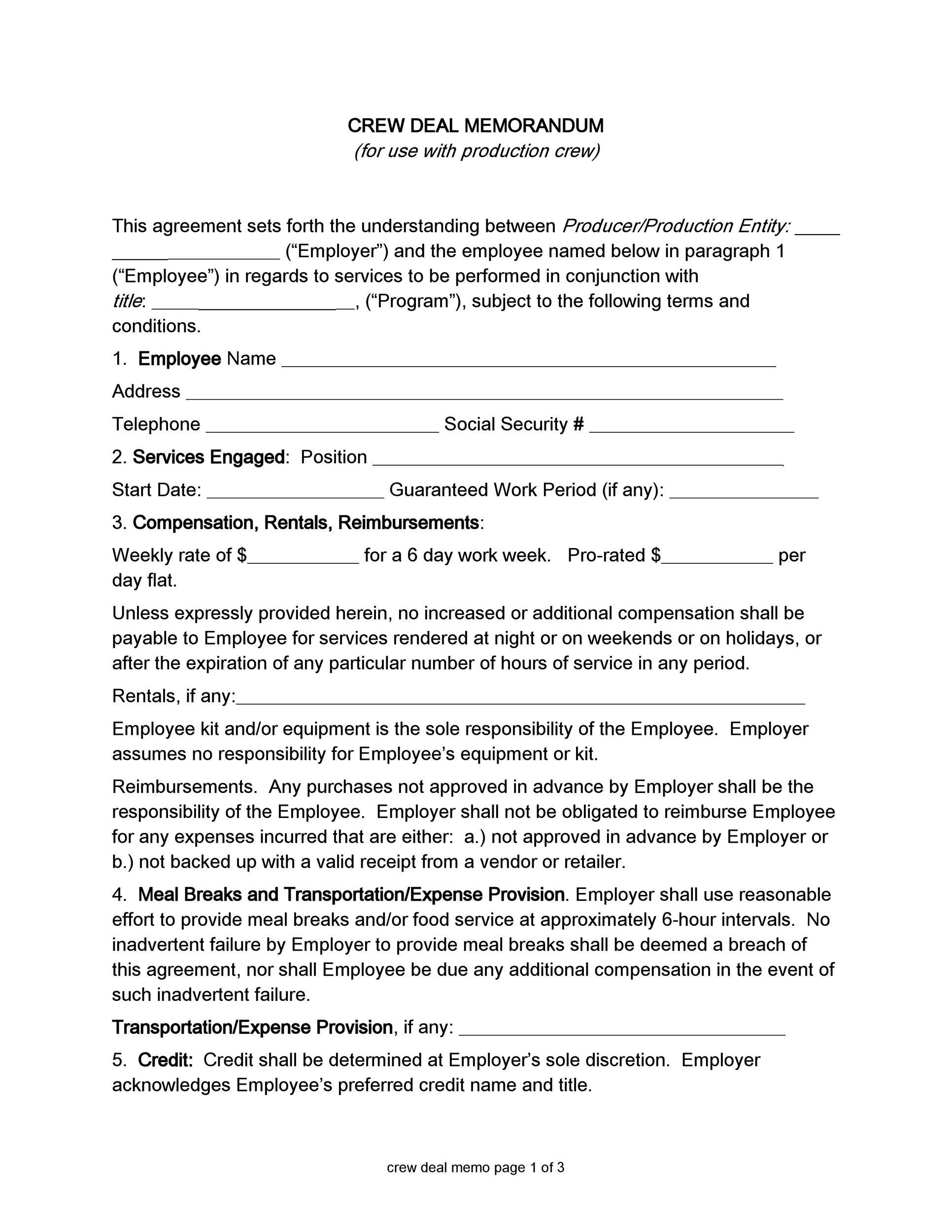Free deal memo template 15
