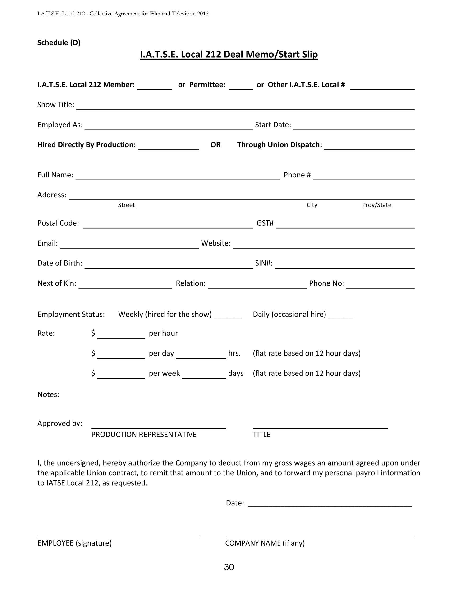 Free deal memo template 17