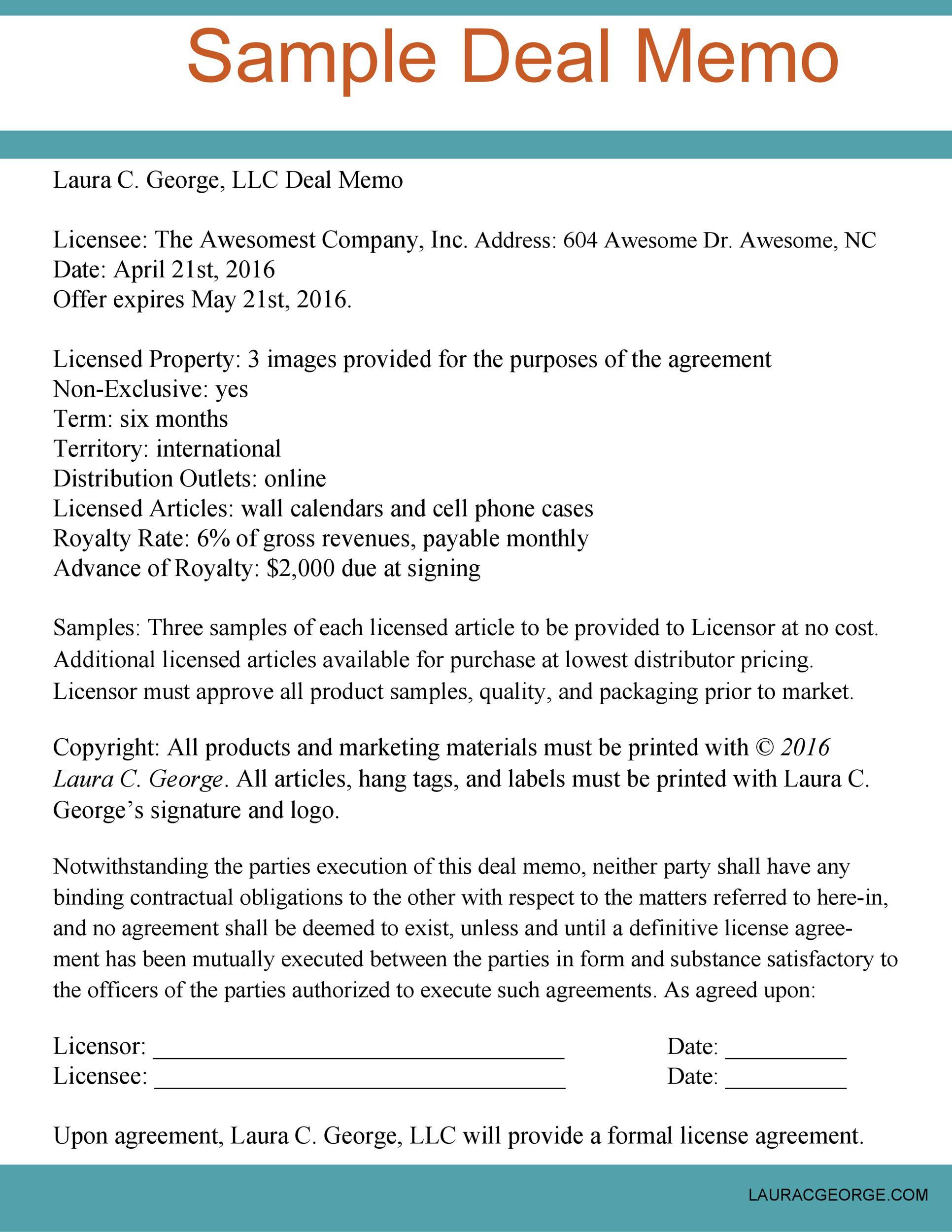 Free deal memo template 19