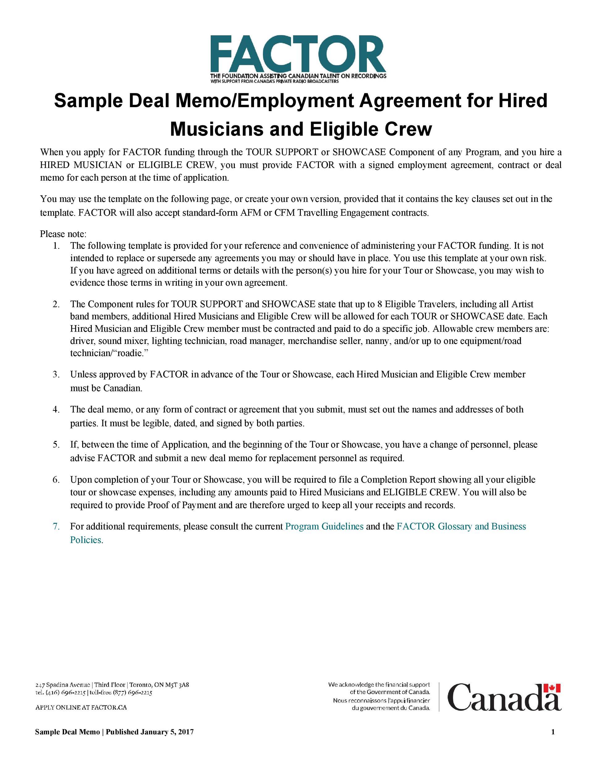 Free deal memo template 20