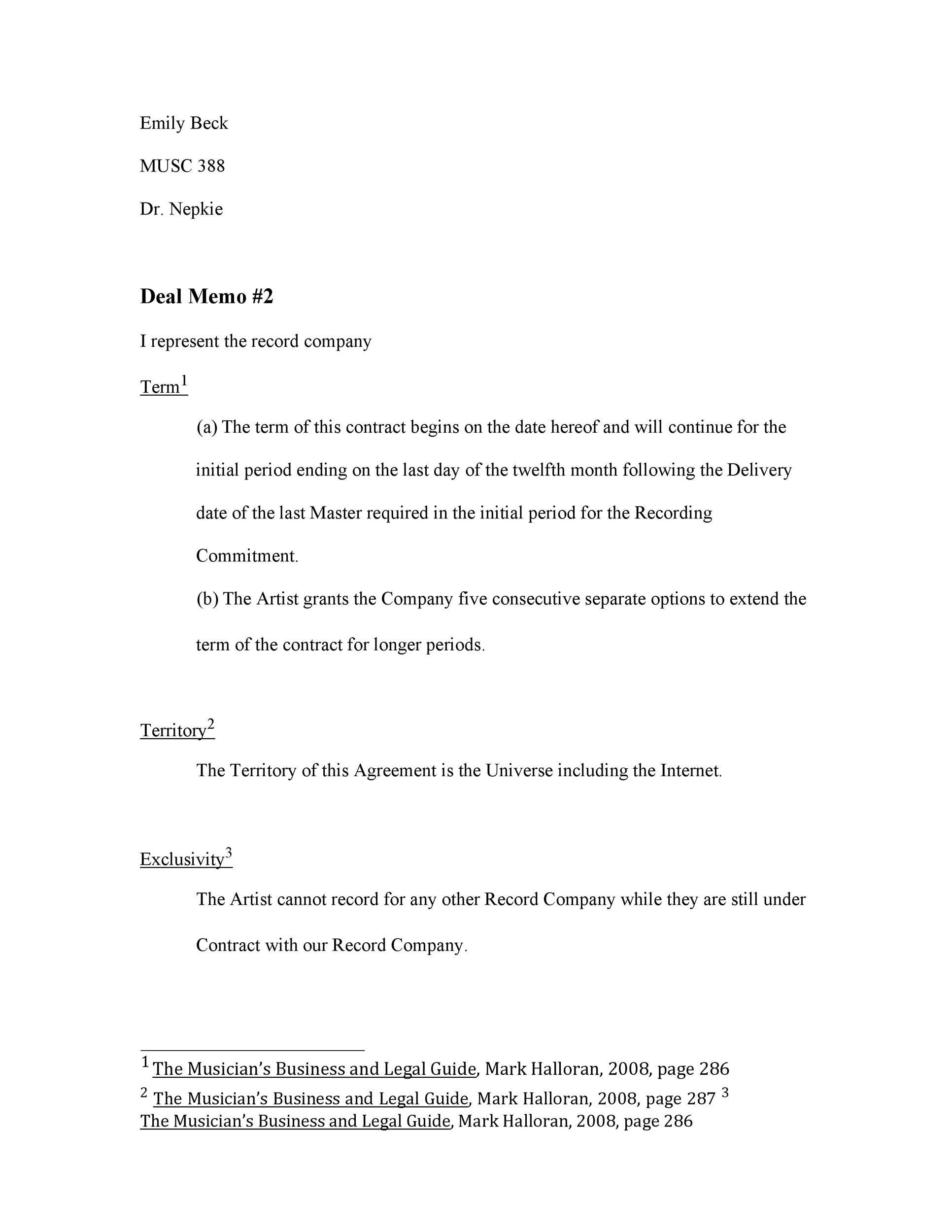 Free deal memo template 25