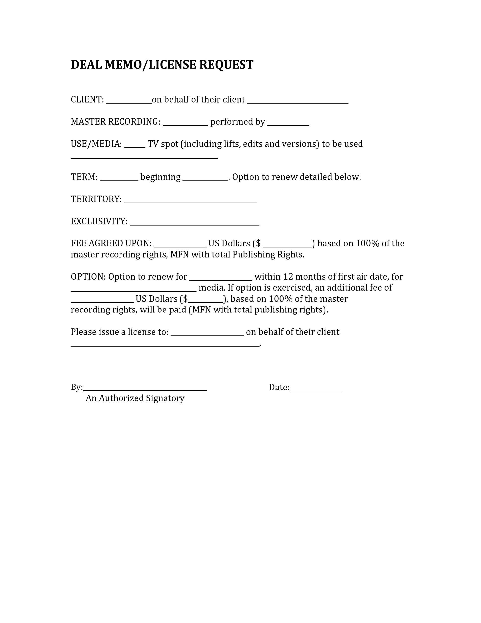 Free deal memo template 26