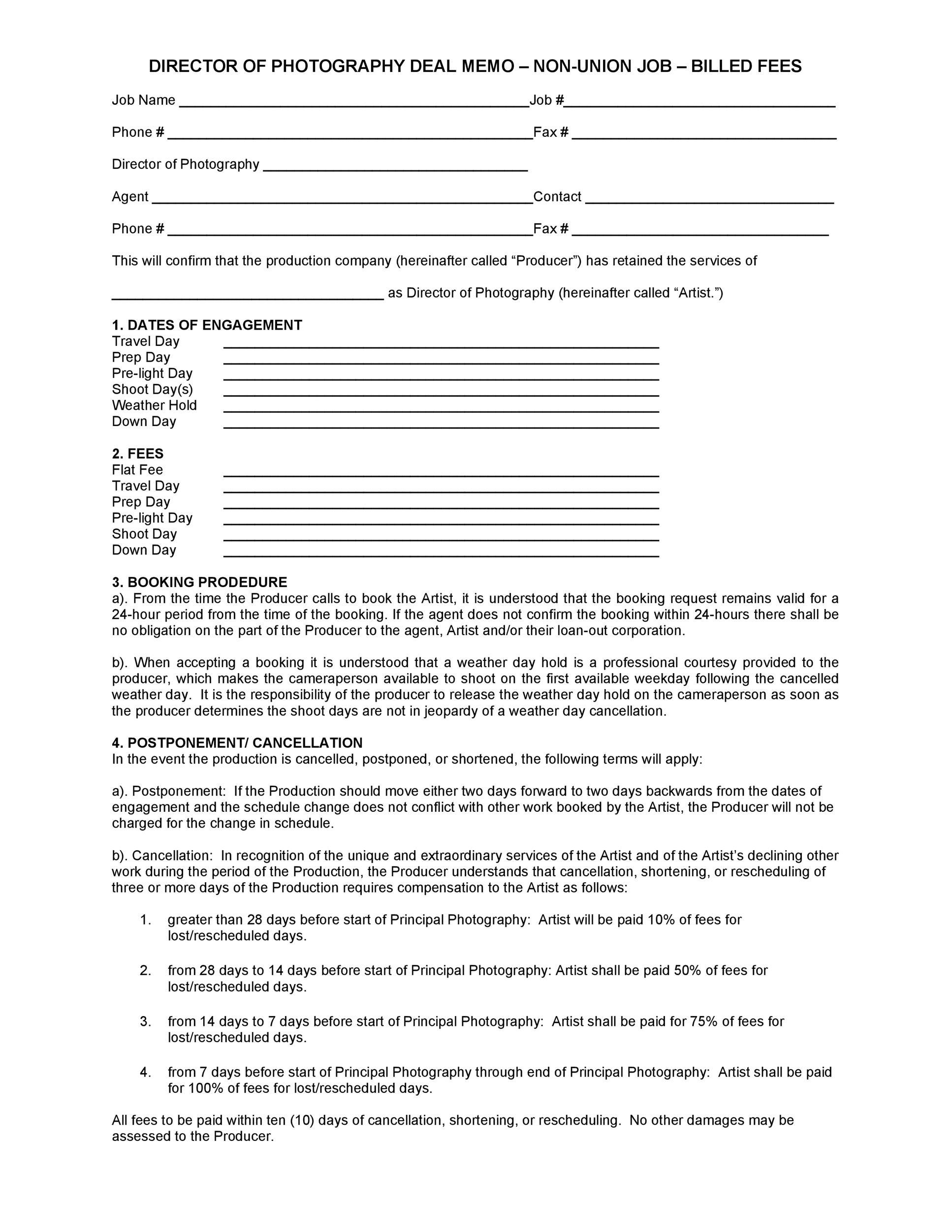 Free deal memo template 37
