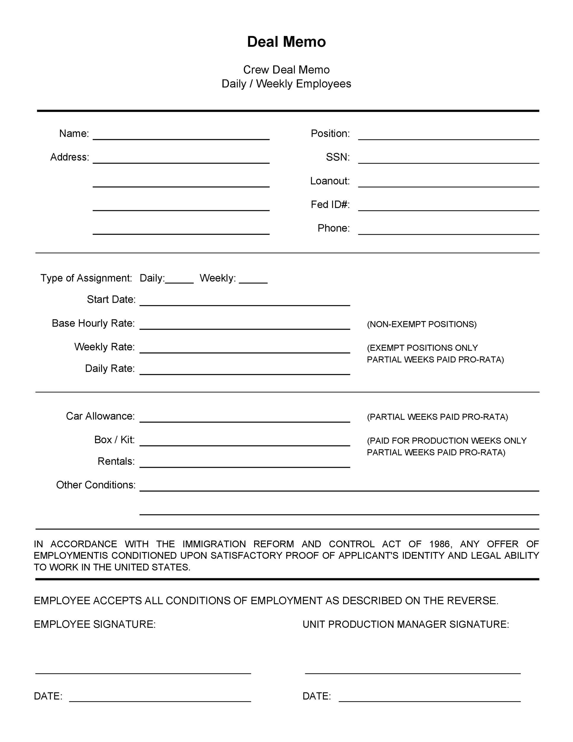 Free deal memo template 40