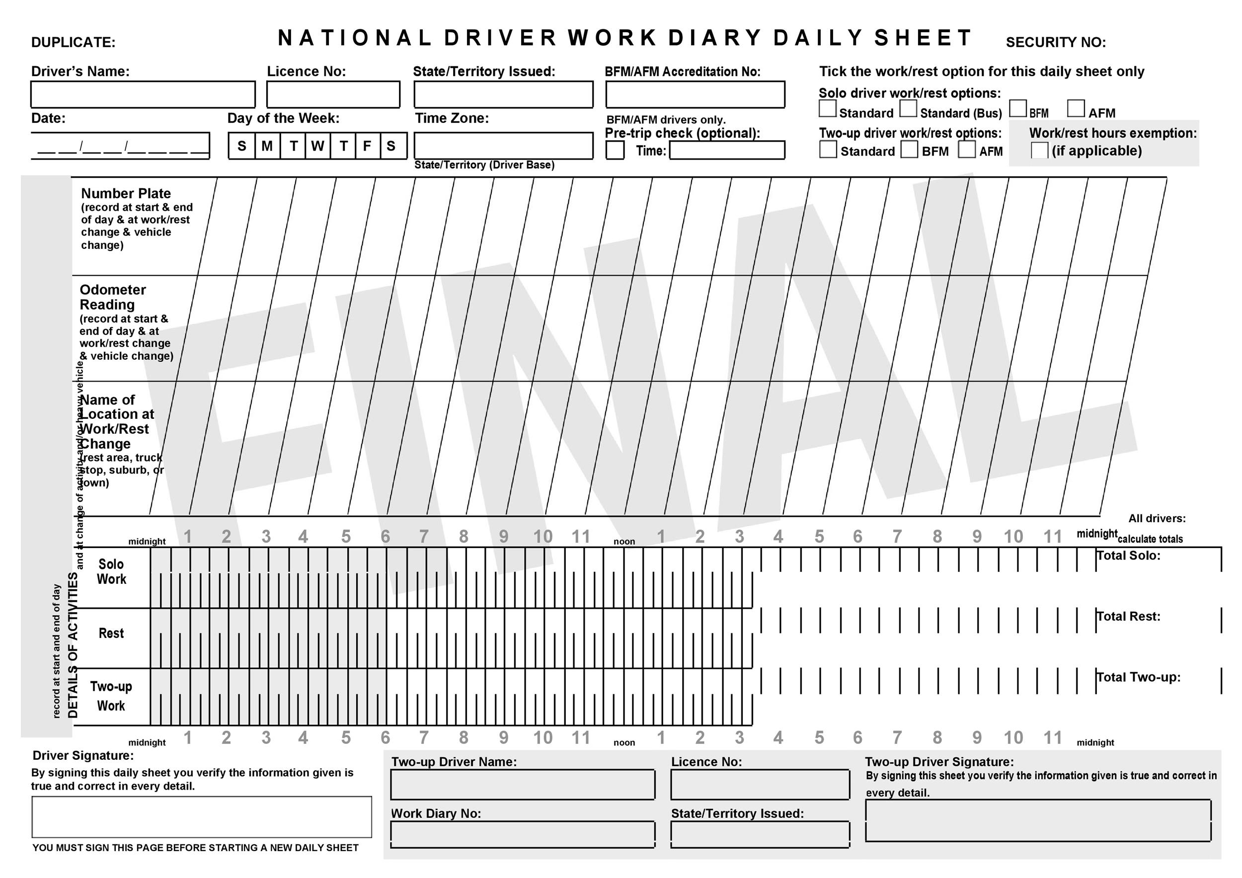 Free drivers daily log 12