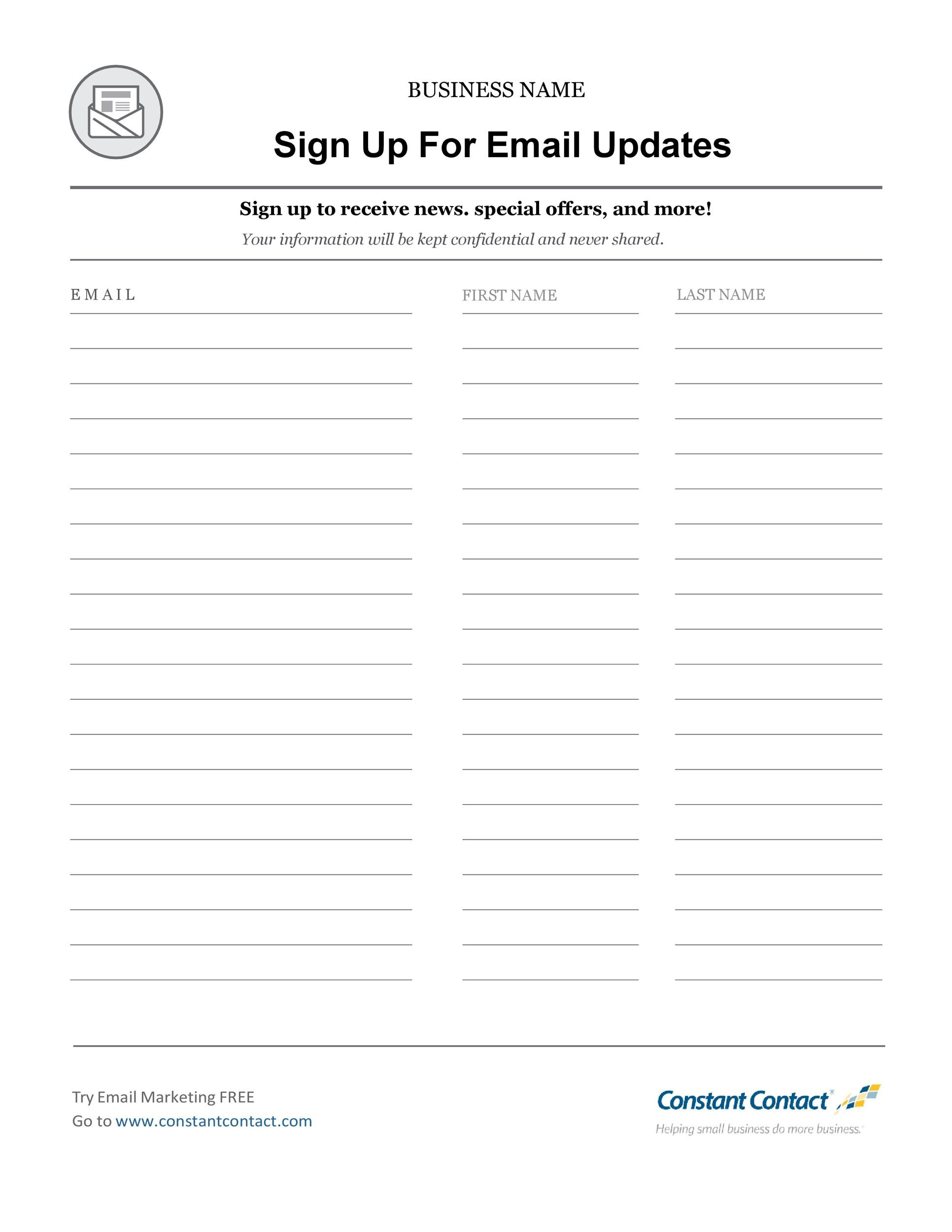 Free email list template 03