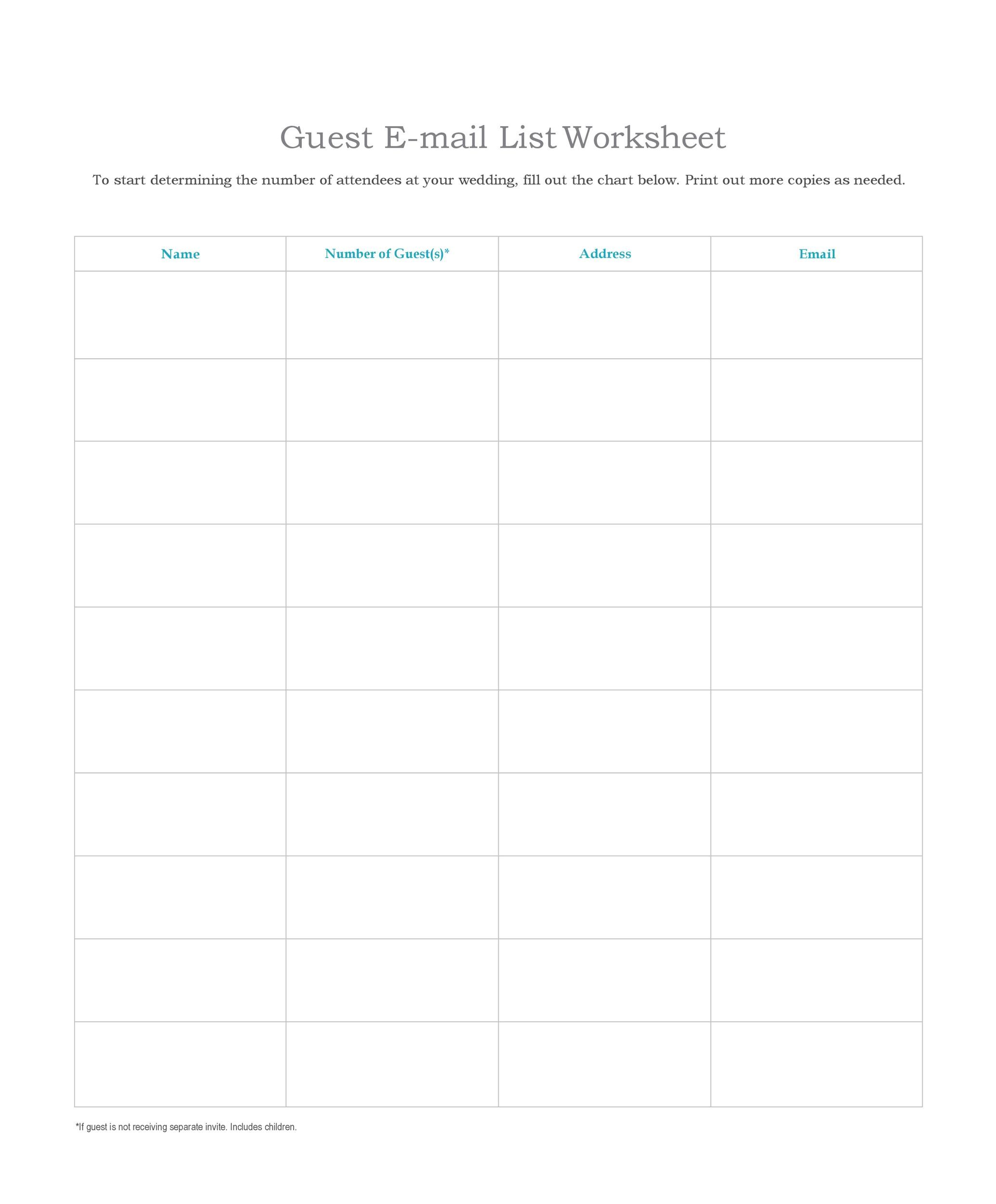 Free email list template 35