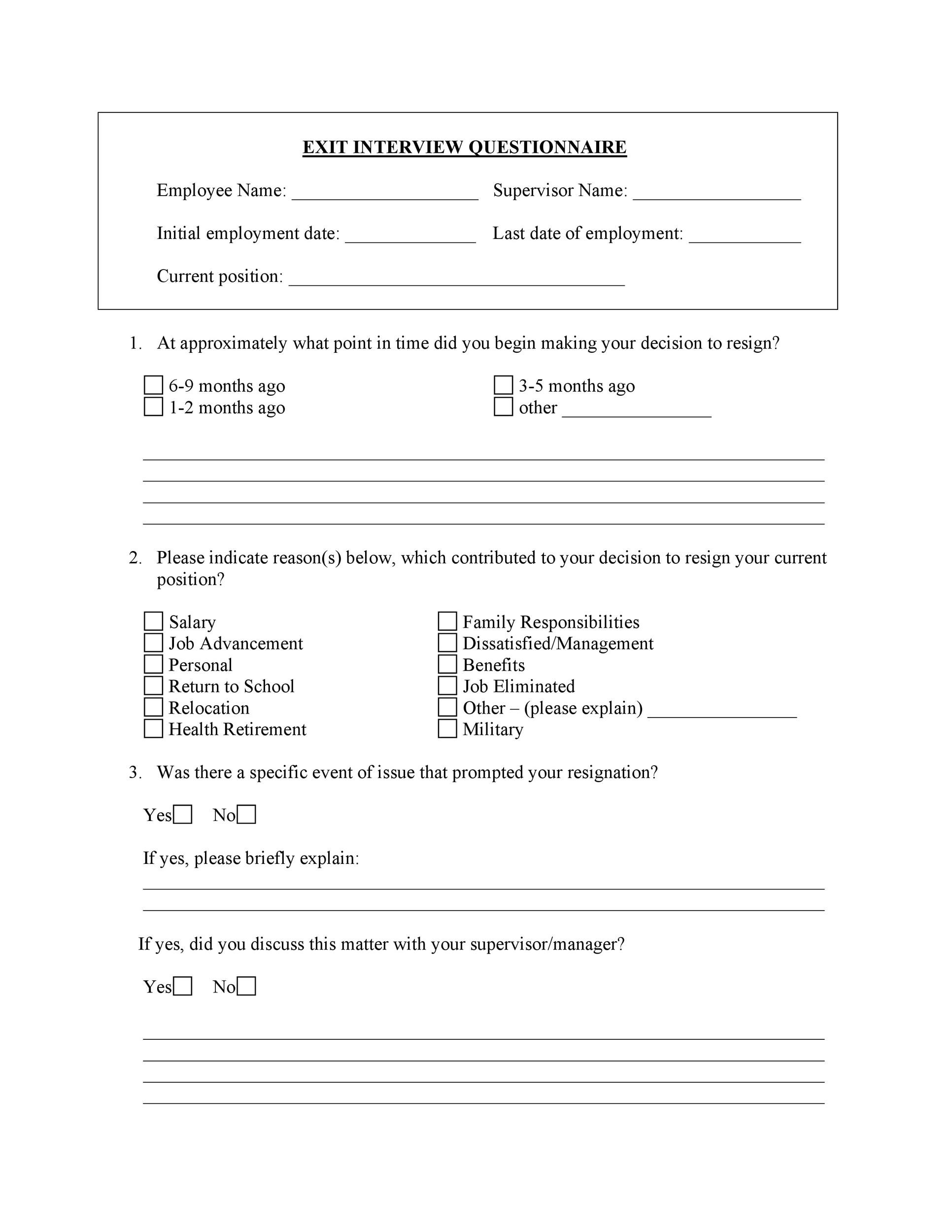 Free exit interview template 04