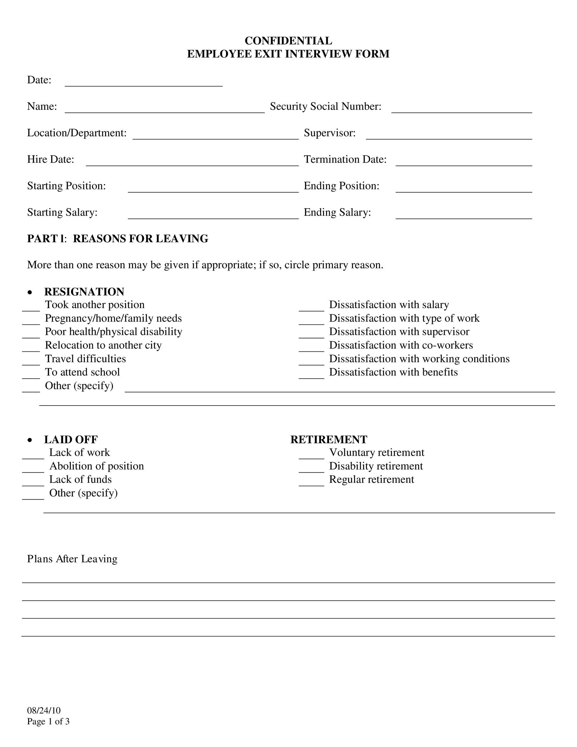 Free exit interview template 06