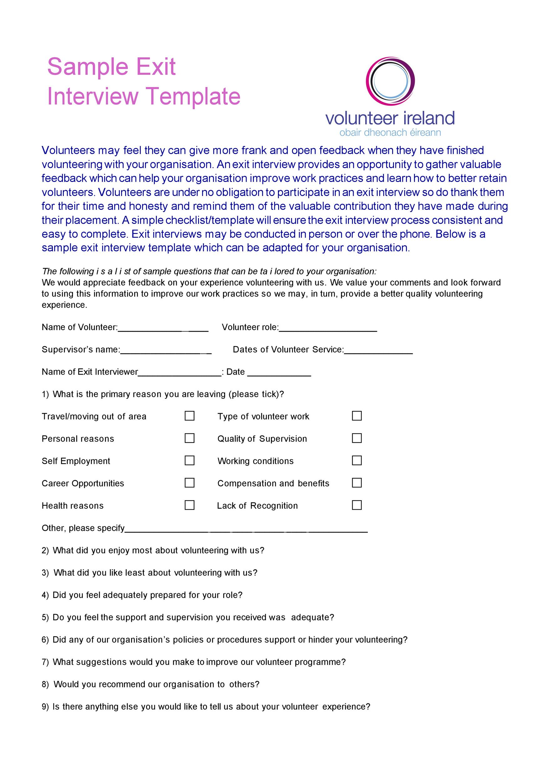 Free exit interview template 07