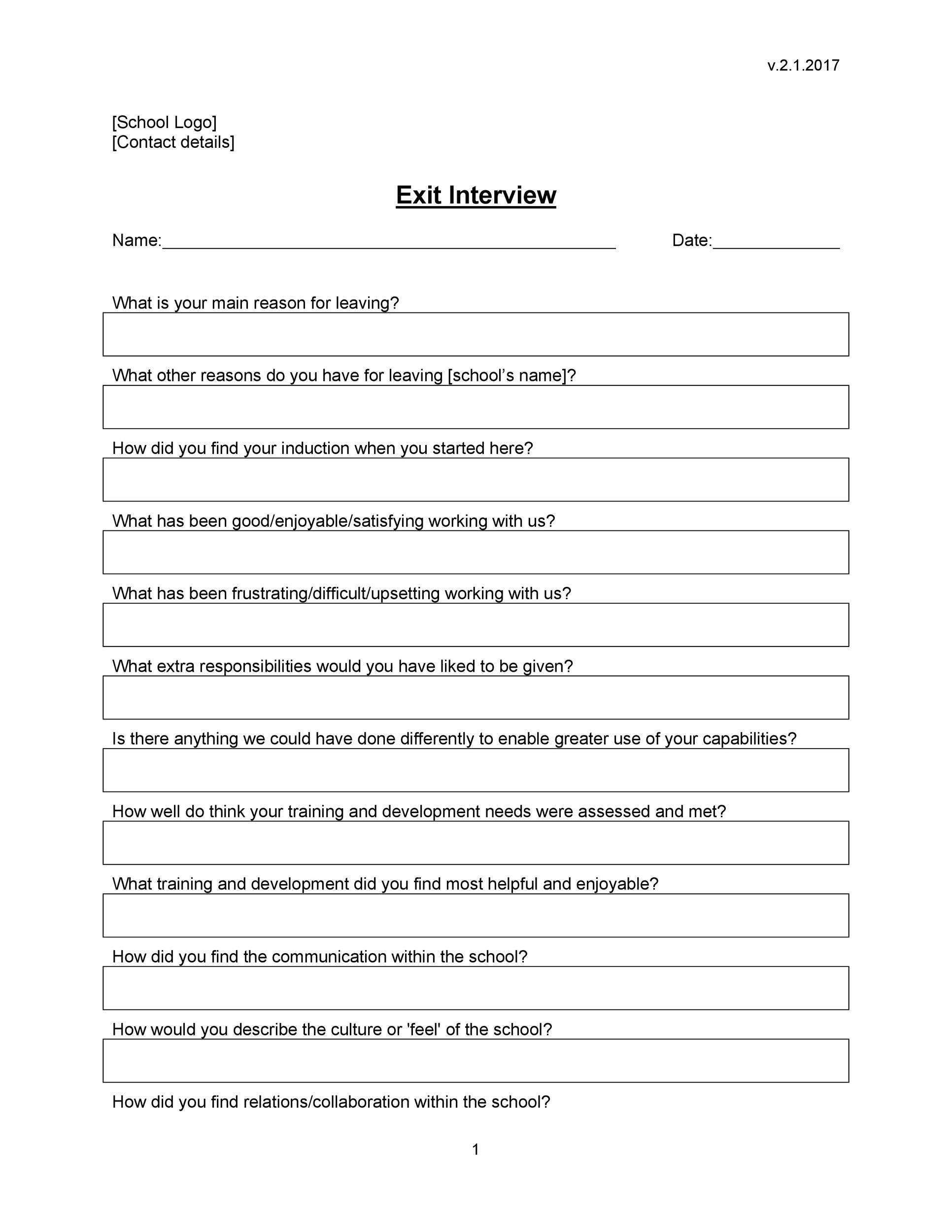Free exit interview template 08