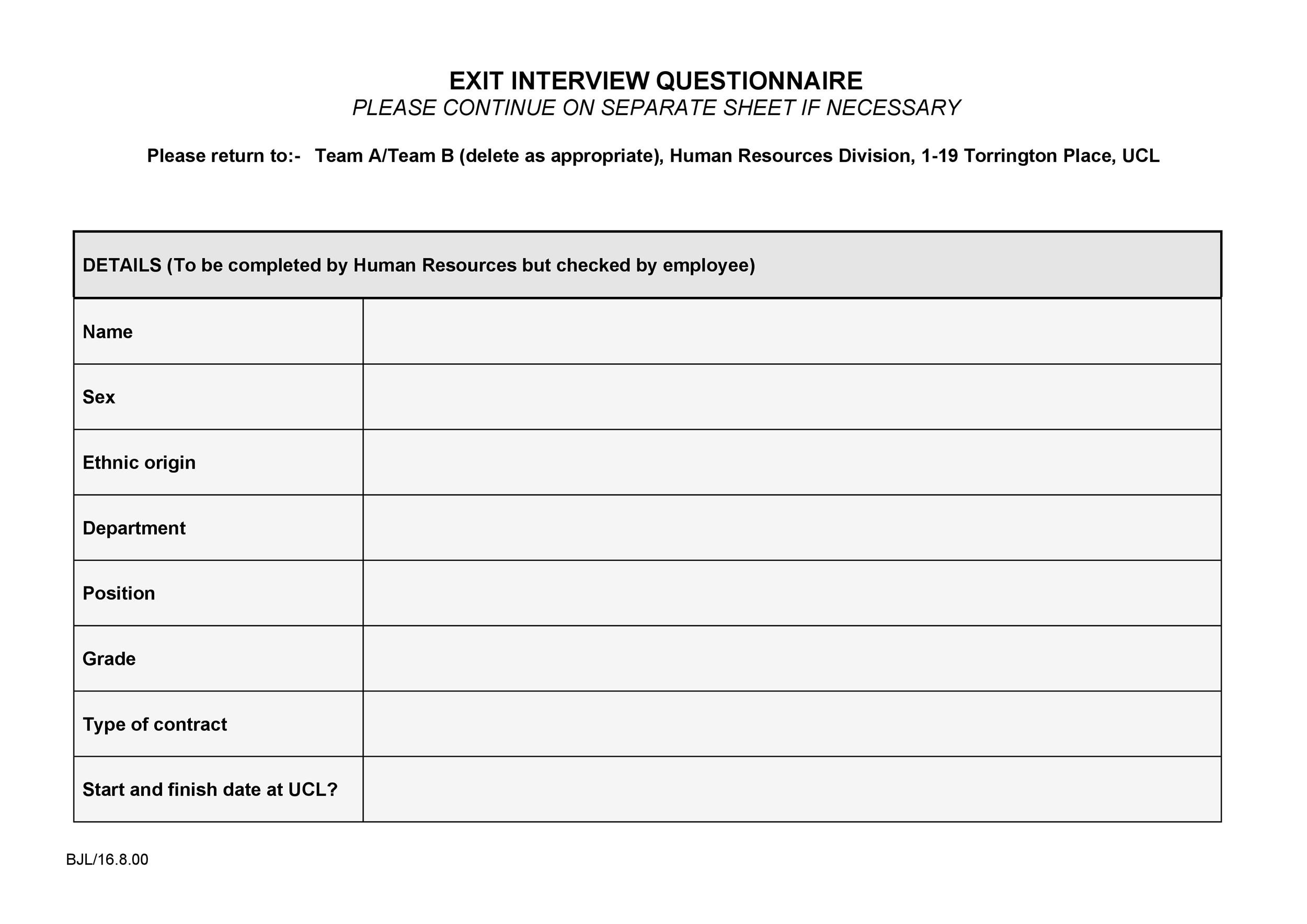 Free exit interview template 09