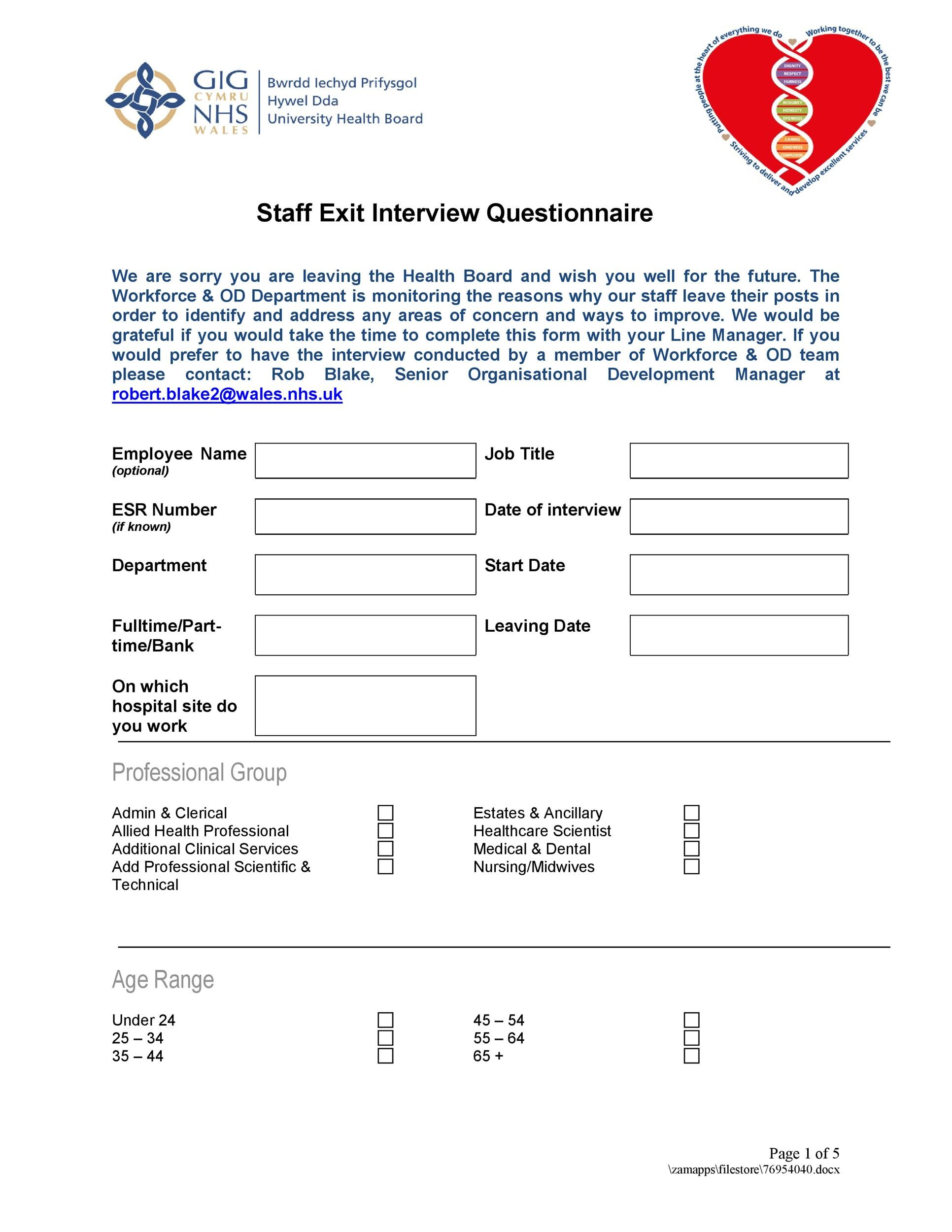 Free exit interview template 10